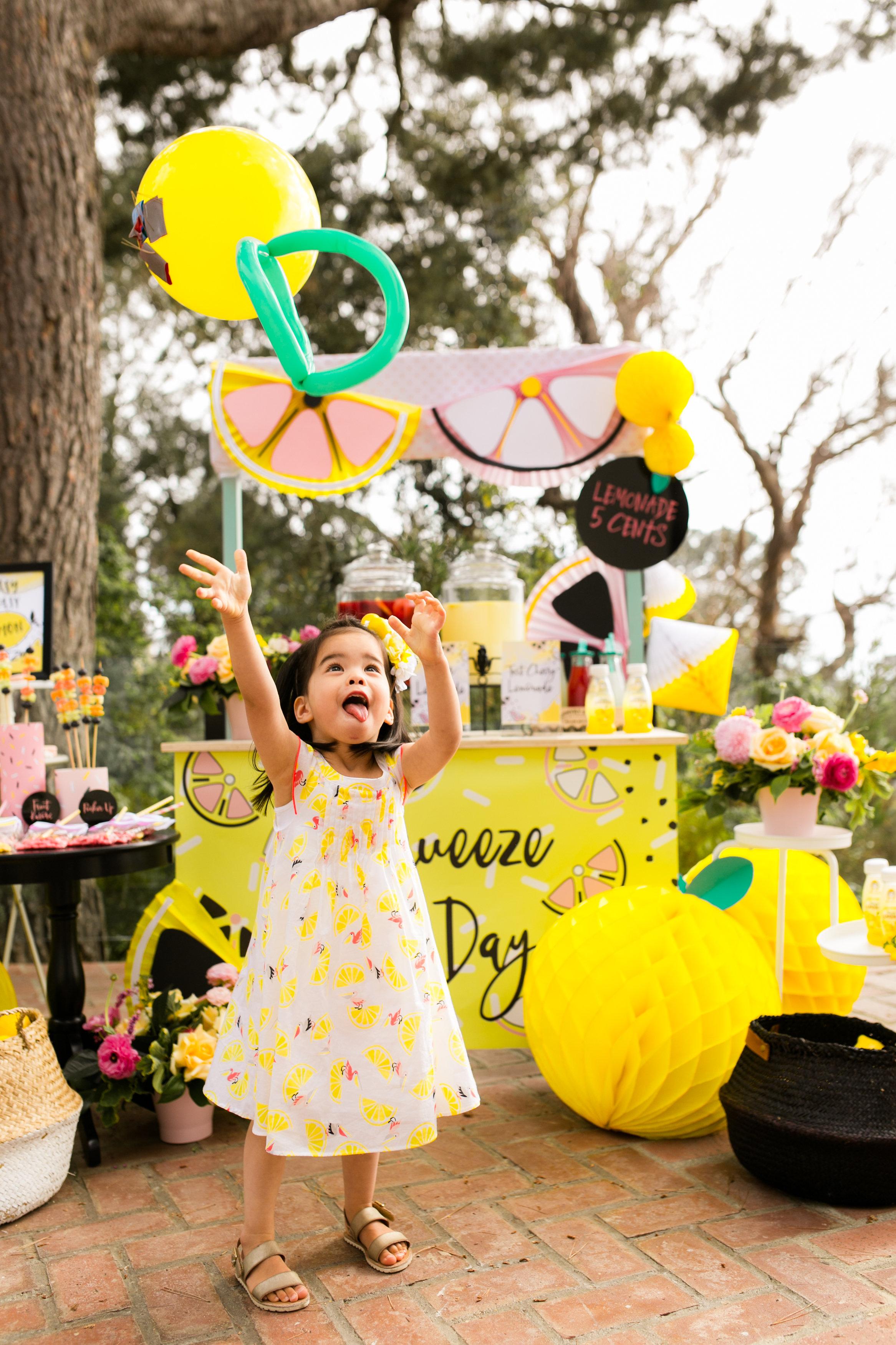 Lemonade Kids Birthday Party - Little girl Lemon dress and girls party