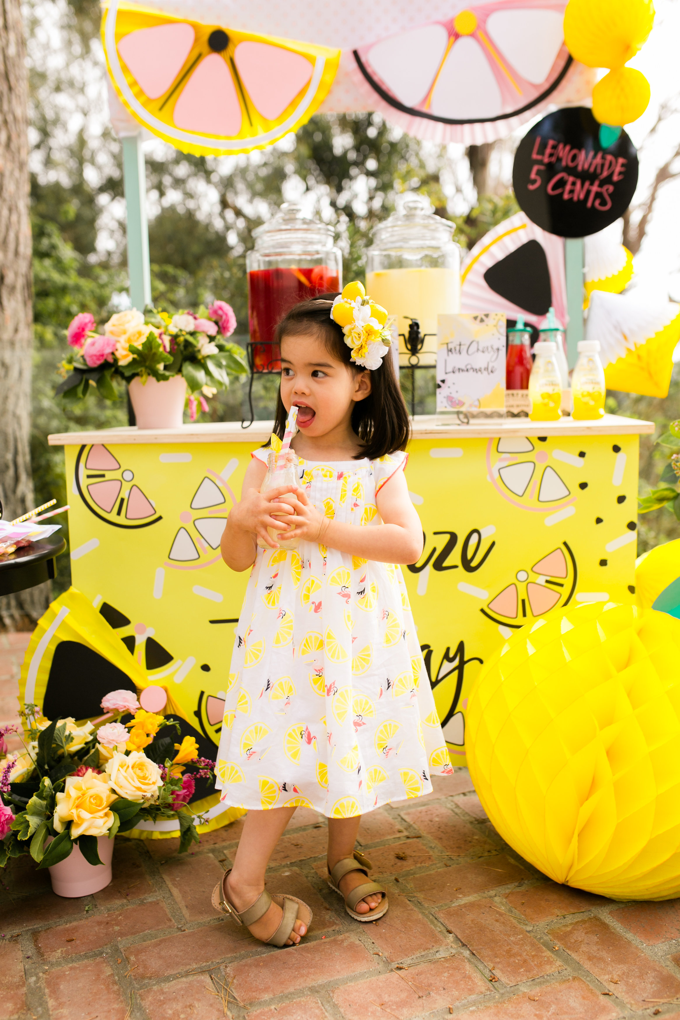 Lemonade stand Kids Birthday Party - Little Girls Lemonade Party dress and Lemon Headpiece