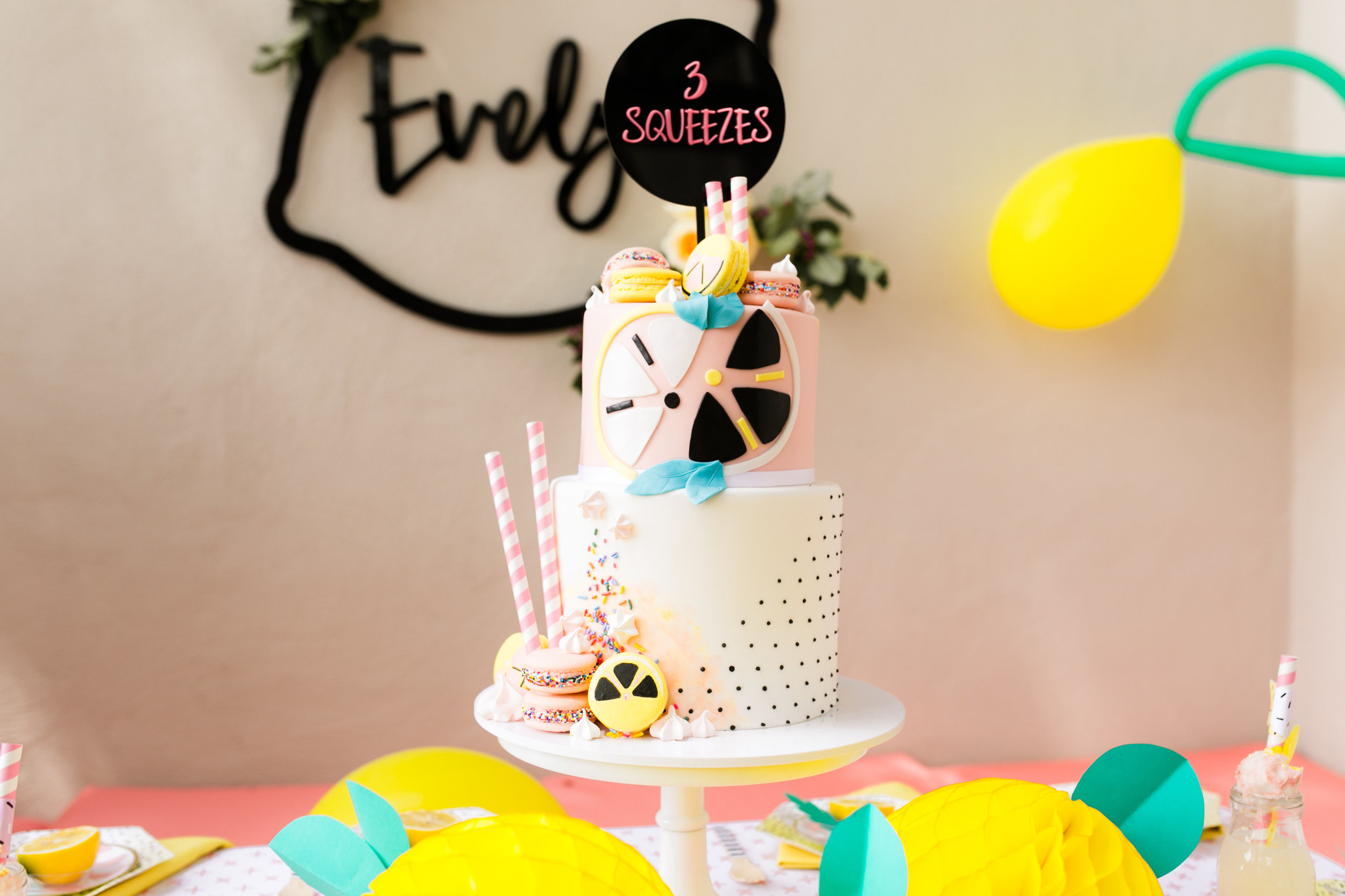 Lemonade Birthday Party Tabletop Decor - Custom Cake by Jenny Wenny Cakes