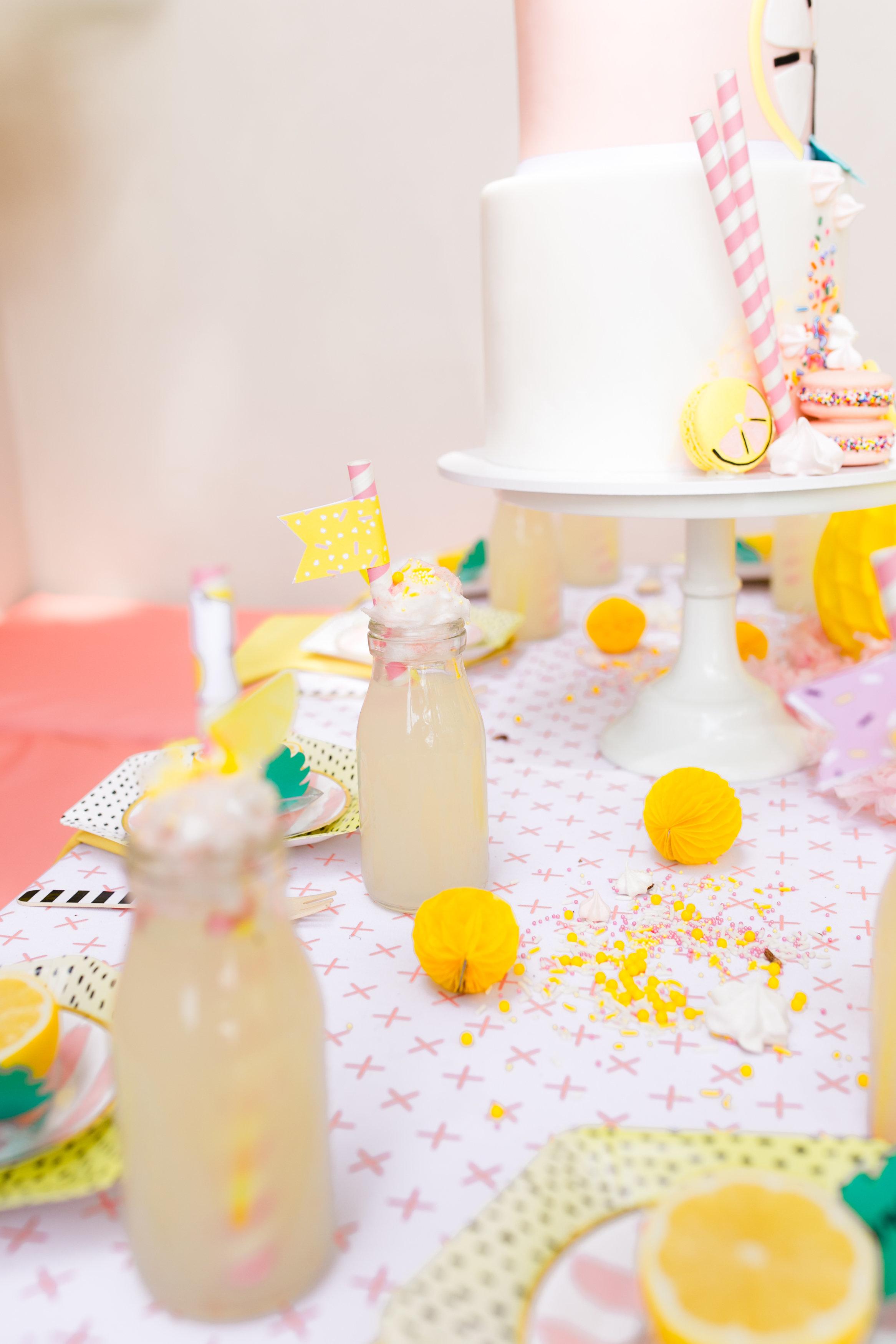 Lemonade kids birthday party - Tabletop Decor and Lemonade Glasses