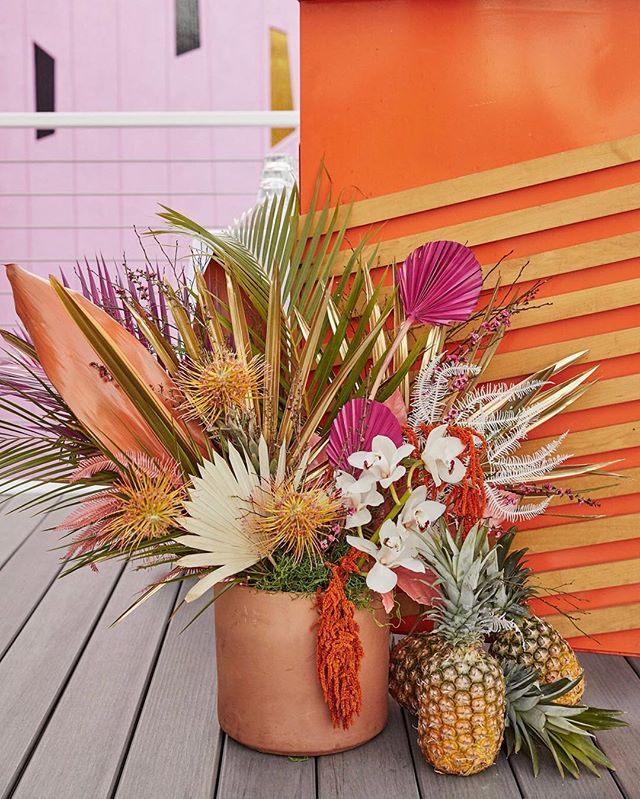 Summa summa summa time! Feeling the heat with this set up.  Ready for sunshine! Anyone else?  @vicidolls | @foxtail_florals . #summergoals #floraldesign #tropicalflorals  #florallover #eventdesign #orange