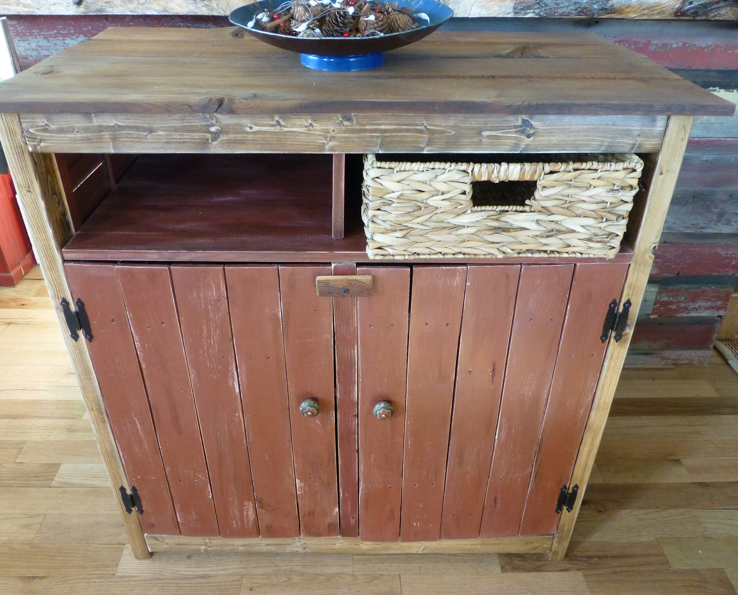 TV Cabinet from antique shutters and reclaimed wood.