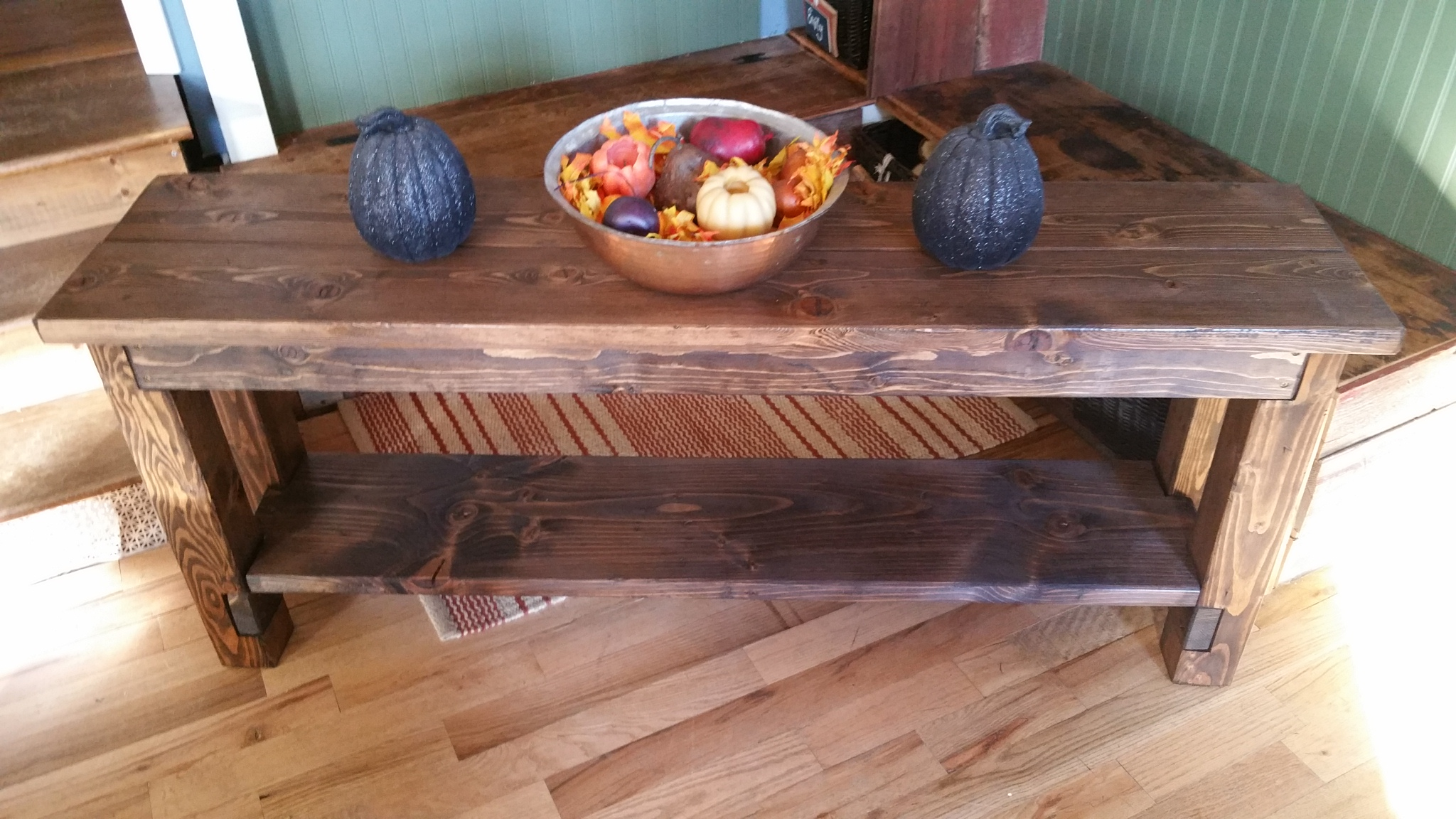 Sofa table from new wood and distressed