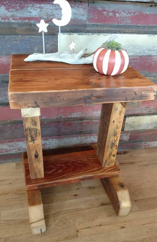 Side table made with reclaimed wood