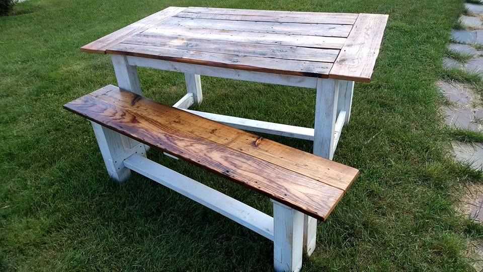 Reclaimed wood top table with bench