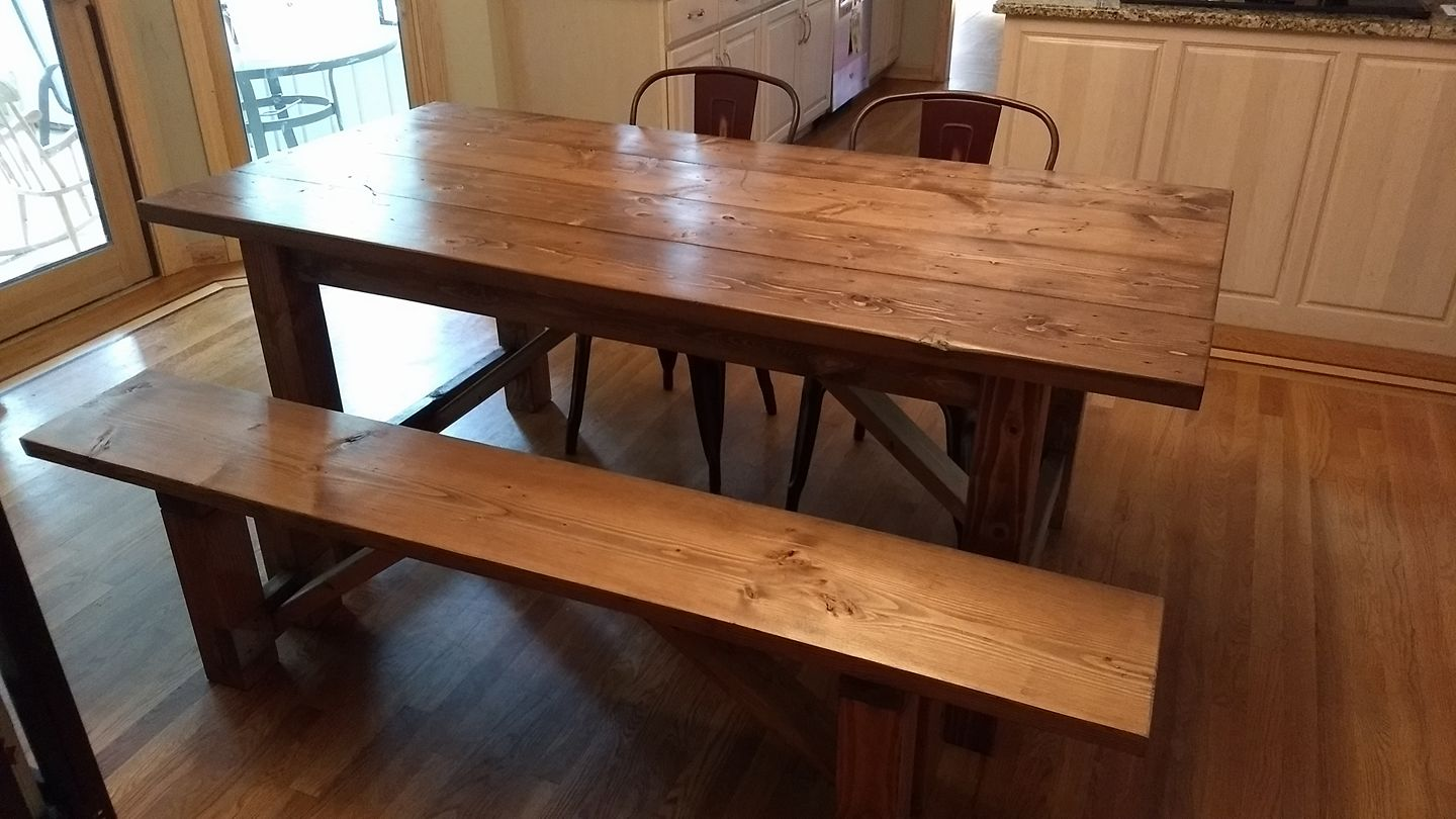 Farmhouse table with bench and straight legs