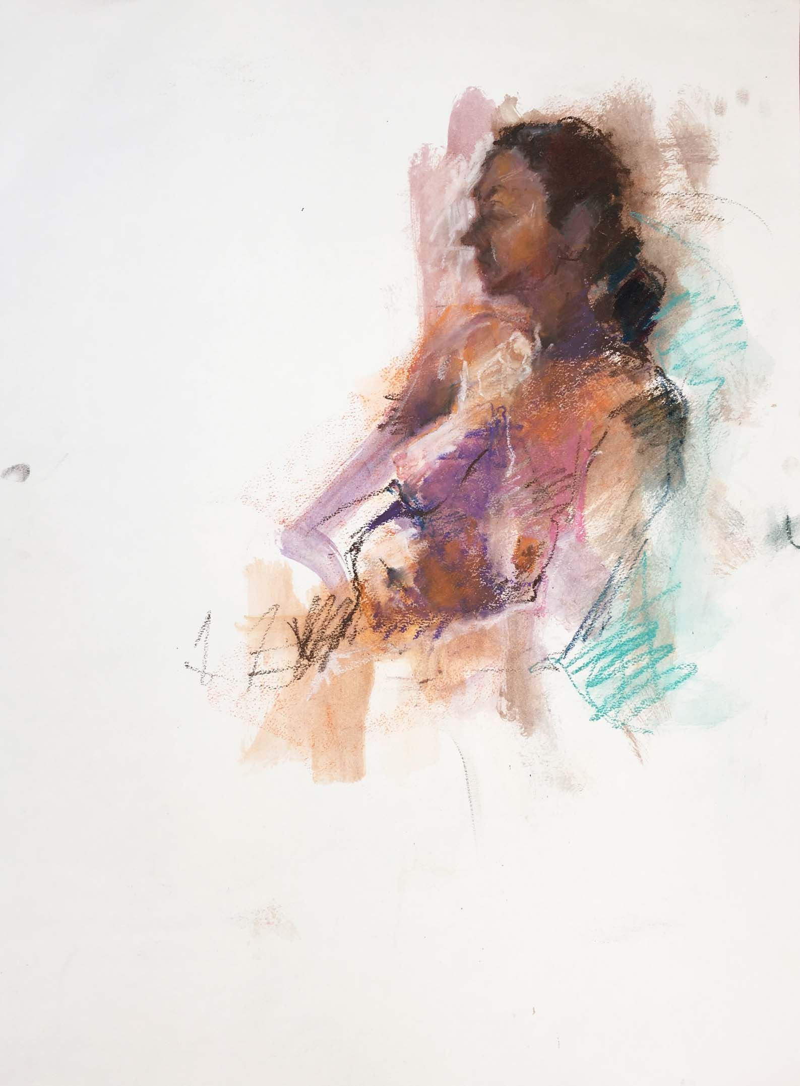 Woman in Brown Pastel, 2005. Oil pastel on paper, w55 x h76cm.