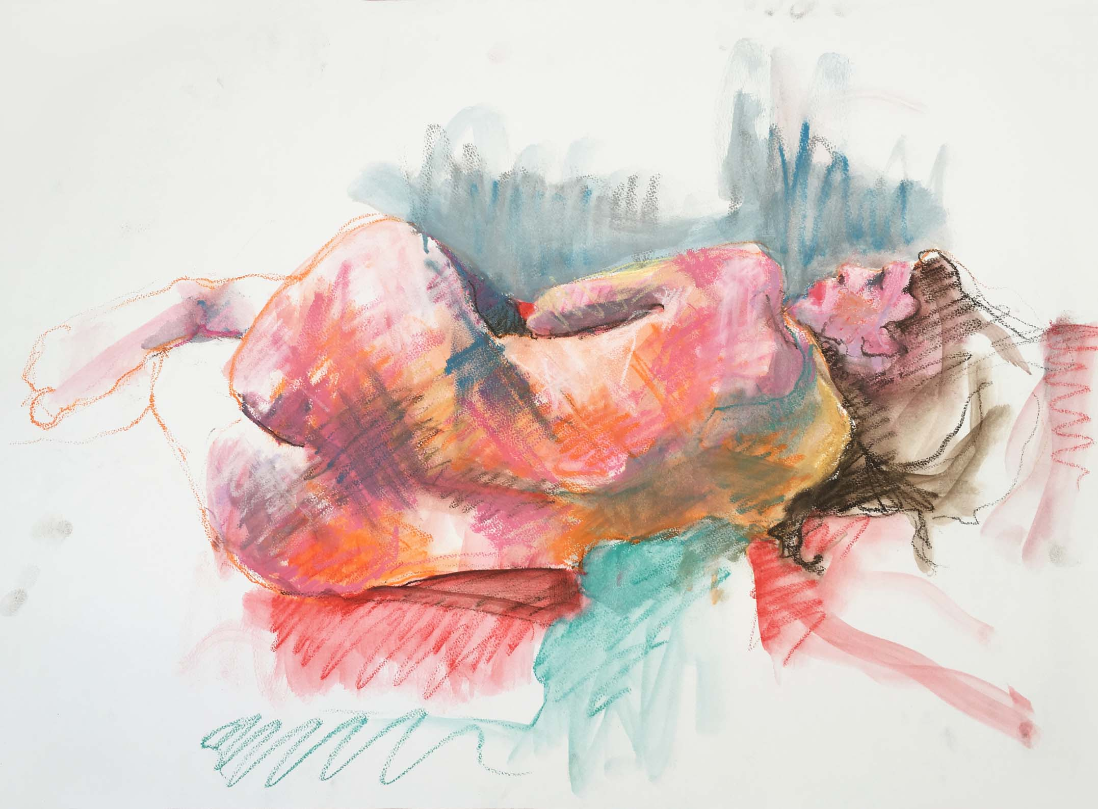 Woman on a Red Cushion, 2005. Oil pastel on paper, w76 x h55 cm (79 x 59cm framed).