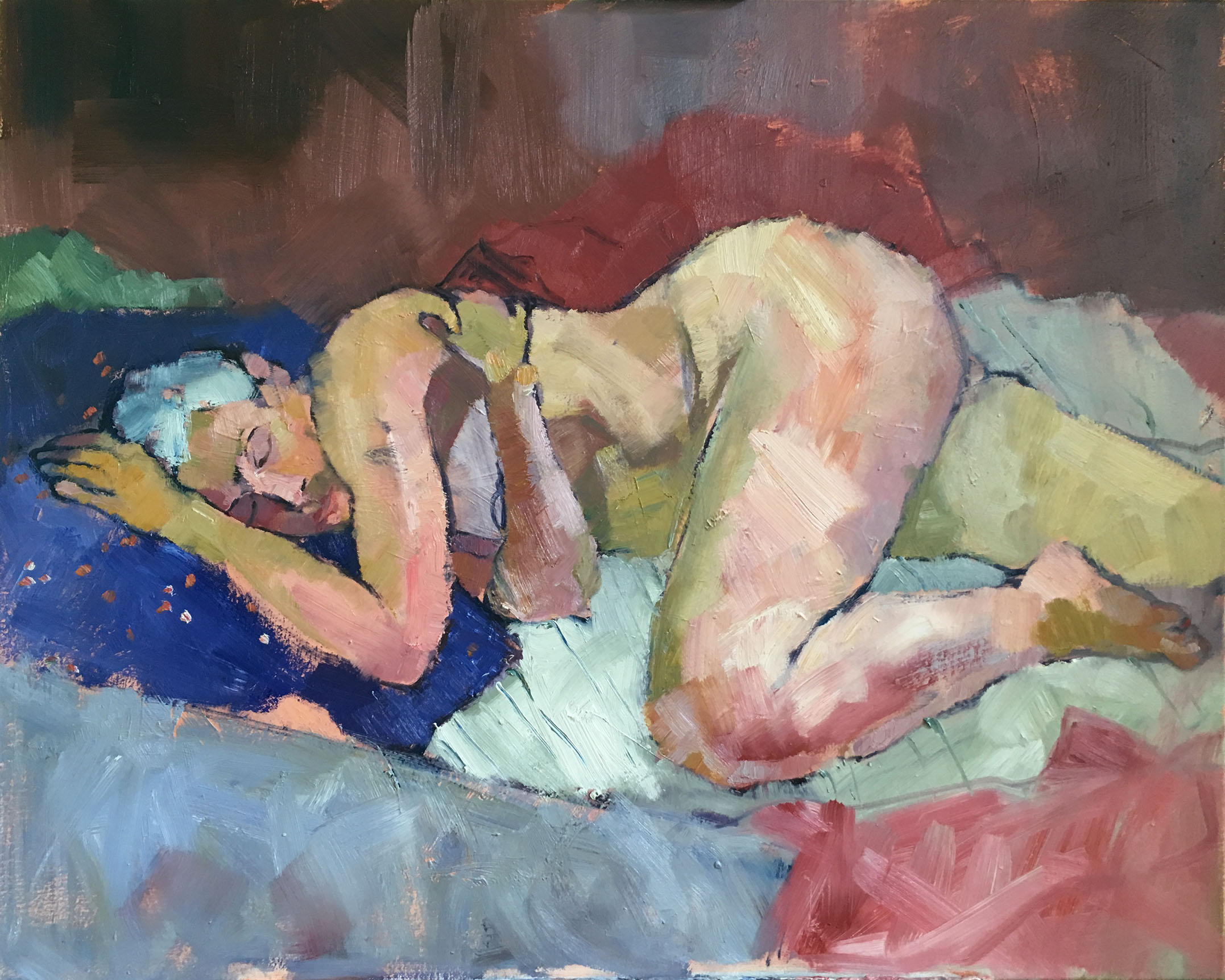 Woman Dreaming on a Blue Pillow