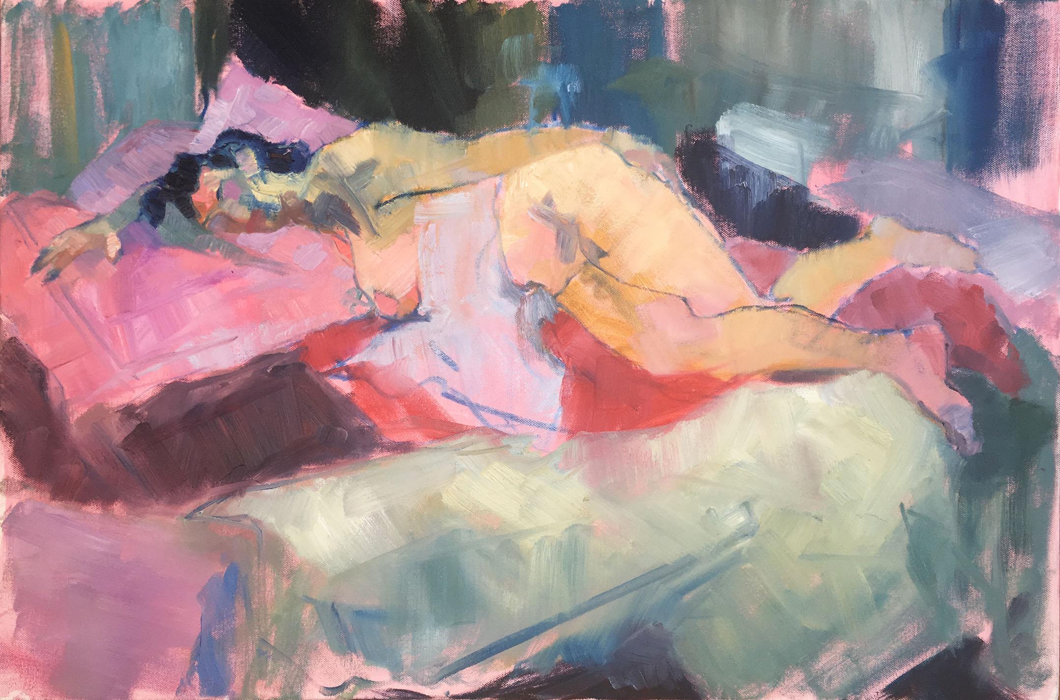 Woman among Blankets