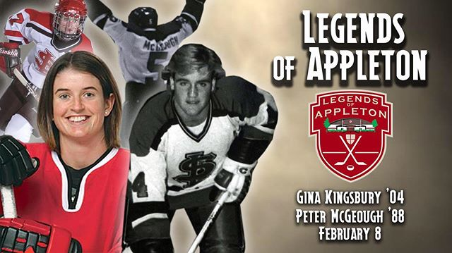 Mark your calendars! February 8th, the third annual Legends of Appleton night is set! We're so excited to welcome Gina and Peter to the Legends of Appleton! Two more incredibly deserving recipients! #SLUHockey #SLUhockeyAlumni #LegendsofAppleton #stlawrenceu