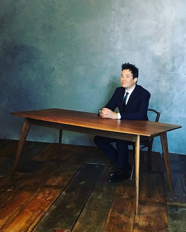 Remembering that one time @jimmyfallon sat at my table 😃 • Want to be like Jimmy? Hit us up for your very own Fallon Table, or let us customize something just for you. DM us for more information. • #jimmyfallon #bunkerhillfabrication #table #design #modern #furniture #woodworking #custom #walnut #set #fabrication #photoshoot #prop #advertising #latenightwithjimmyfallon