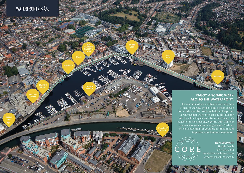 ipswich, waterfront, walk, map