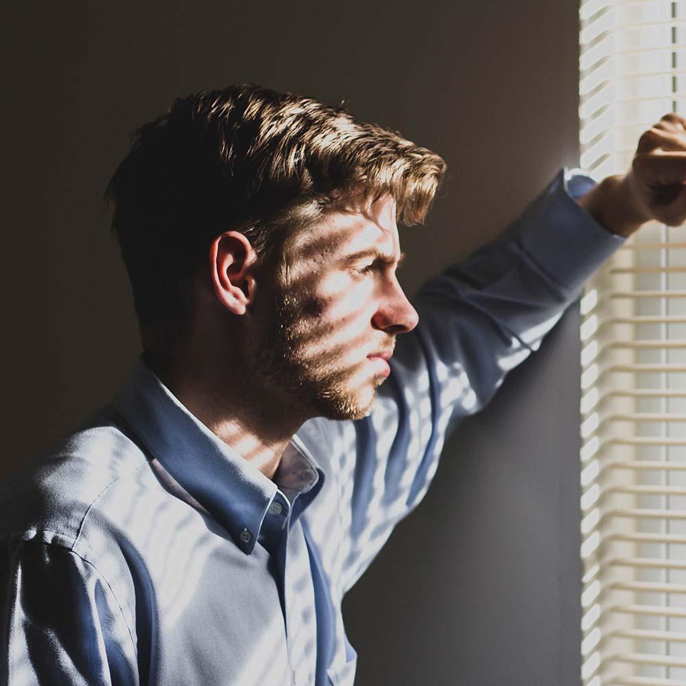 man, window, thinking, anxiety, suffolk mind