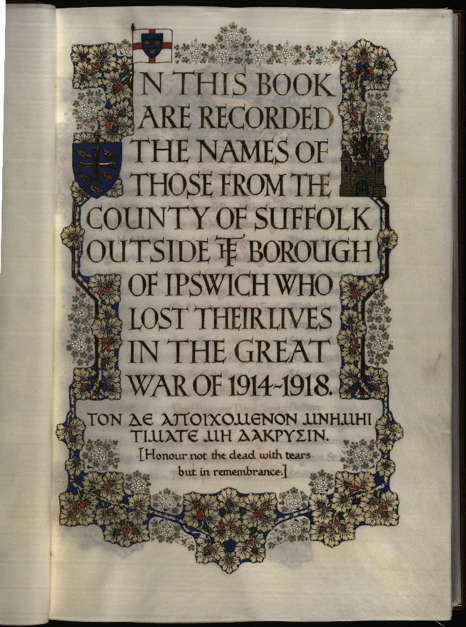 Suffolk Roll of Honour (A2/1/4/2/2)
