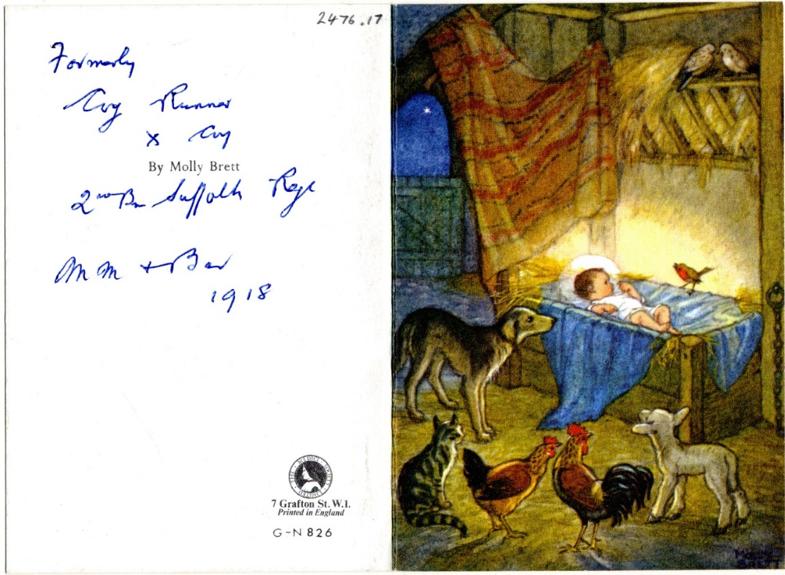 Molly Brett Christmas Card (1918, ref BRO/GB554/A16/14/005)