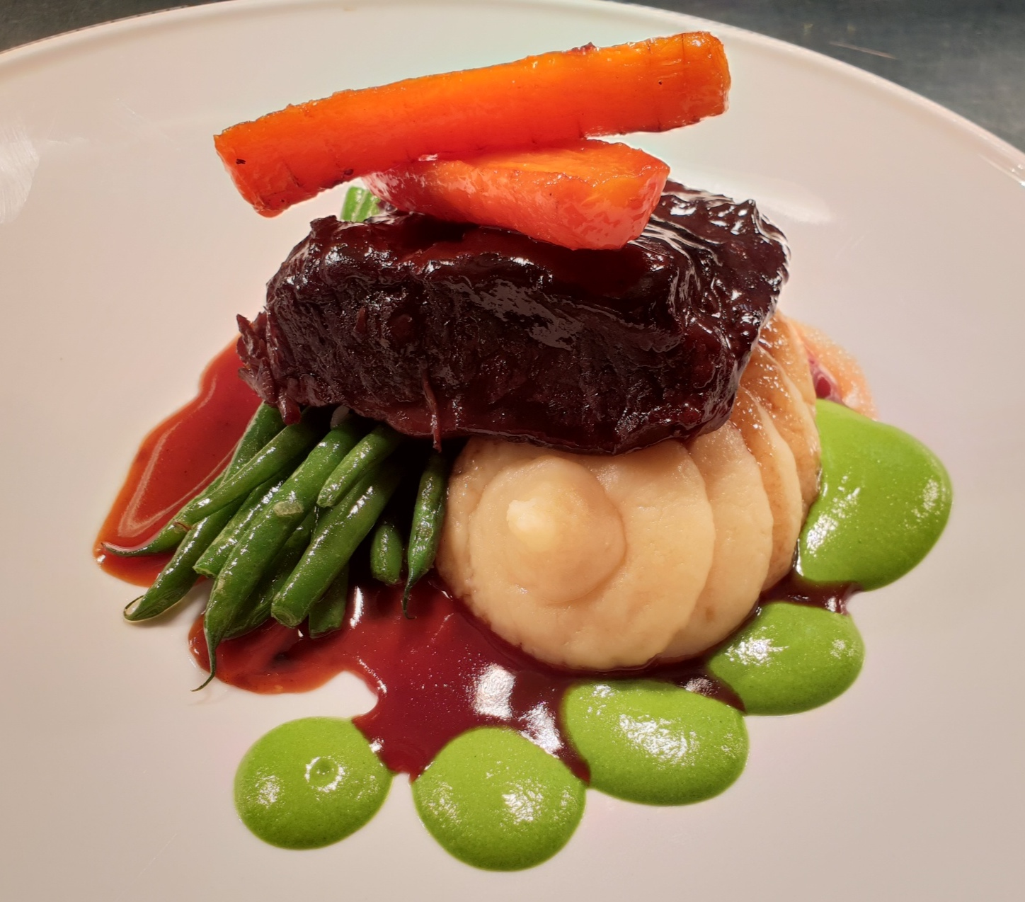 Beef featherblade, parsnip mash, broccoli and spinach, fine beans