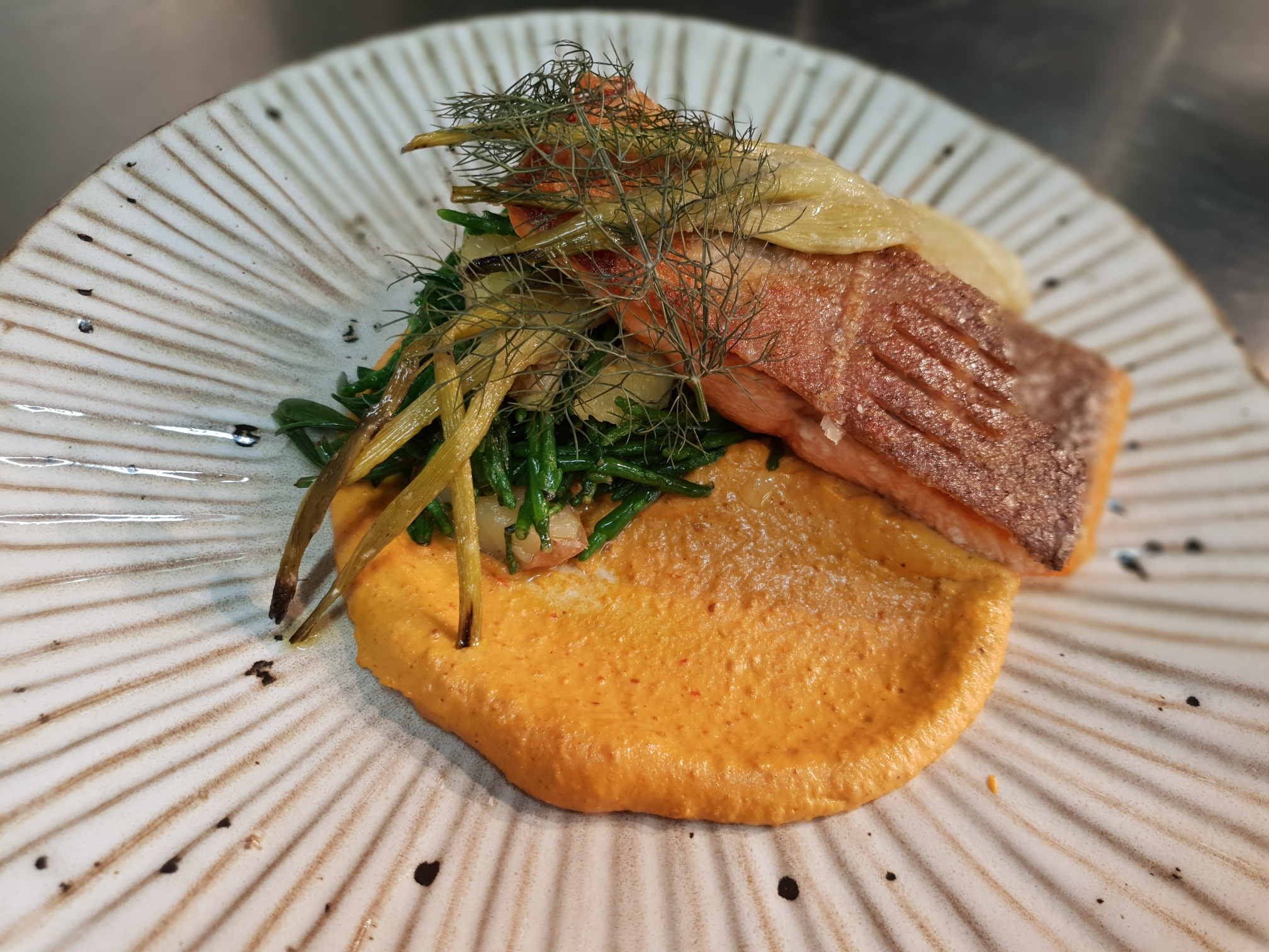 Seatrout, Romesco sauce, Anya potatoes, sea vegetables, fennel