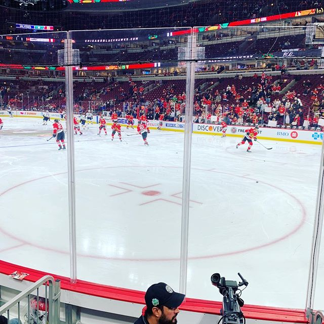Our front row seats to the #Blackhawks game. Thanks Derek! (and @brittanybeach.theparlour for getting him the tickets) #nhl #chefsdayoff #chicago #frontrow