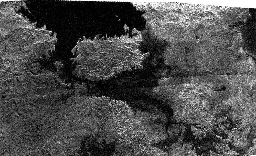A picture of lakes and islands on Titan, from NASA's Cassini mission.