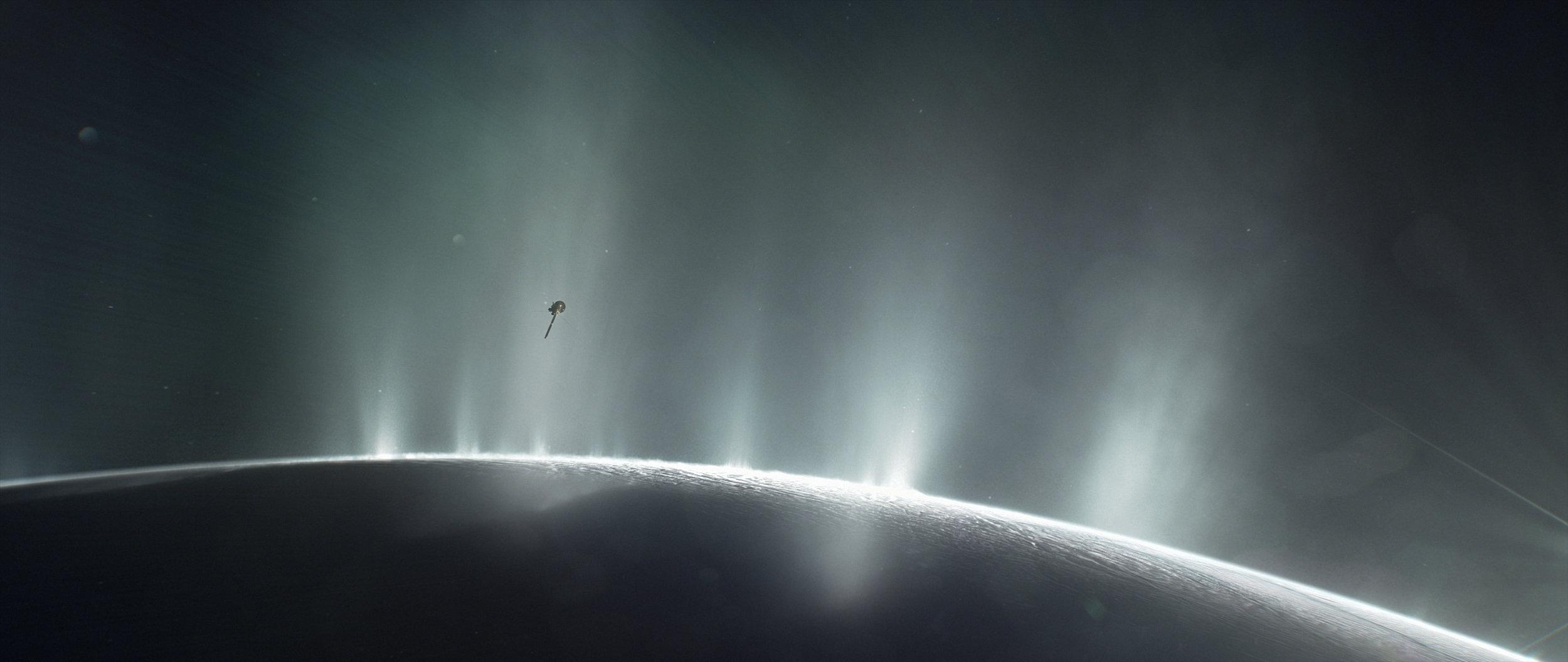 An illustration of Cassini diving through geysers on Enceladus (credits: NASA/JPL-Caltech)