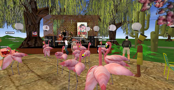 A flamingo mosh in Videoranch3D: as a sign of celebration we would all turn into pink flamingosfor a while.