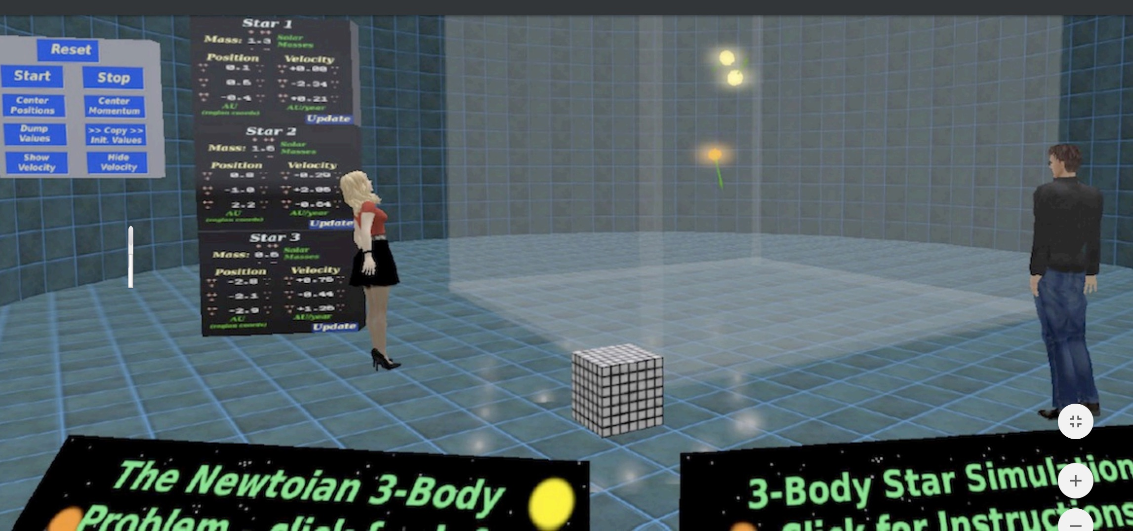 Open-Sim as a lab: the gravitational 3-body problem demonstrated