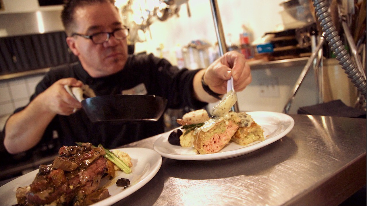 Chef George Gates creating a delicious dish. Photo courtesy of Tourism Cowichan