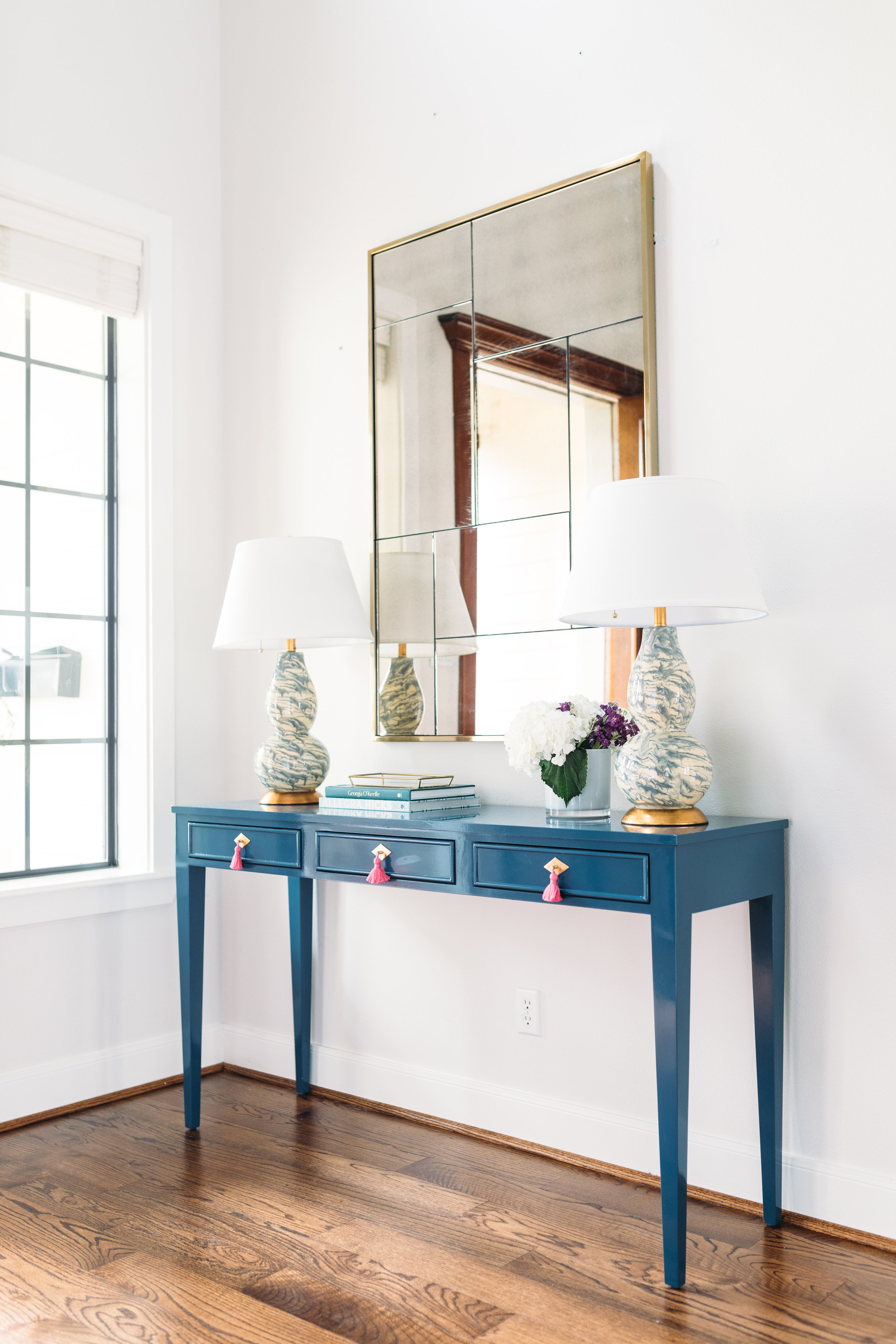"""Shown Above is the CEH LABEL Line  """"Simone""""  desk in custom color and size as photographed by Kelly Christine Sutton, Work of Katie Davis Design"""