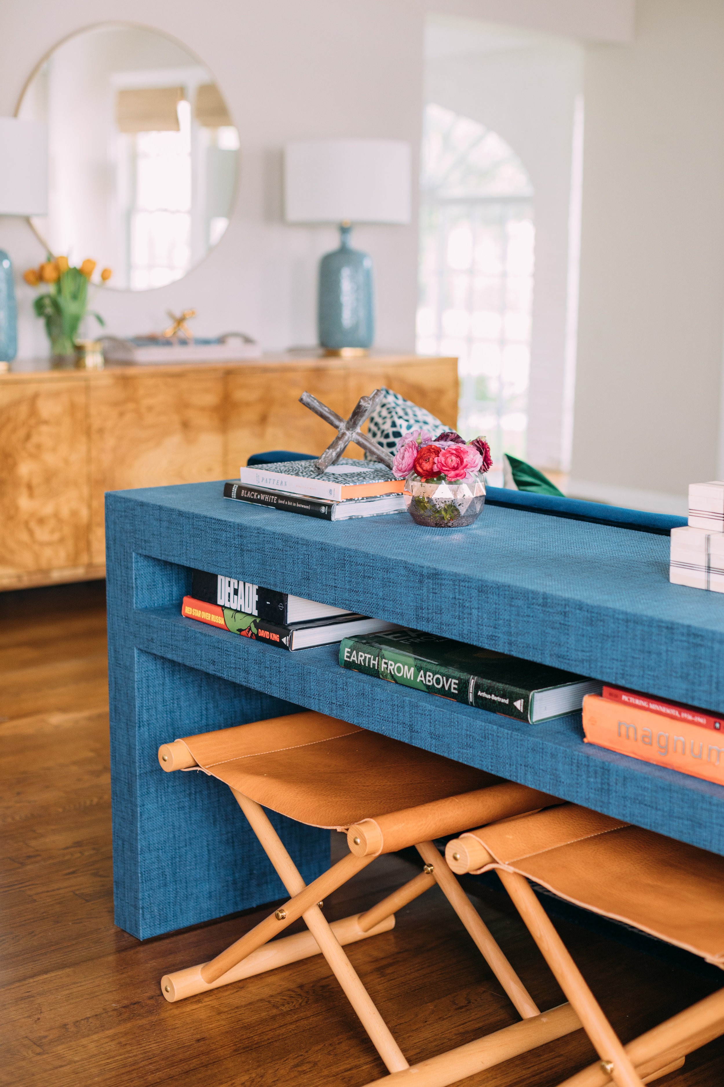 CEH Dollins in burlwood + CEH papered 2 shelf console as photographed by Kelly Christine Sutton, Work of Katie Davis Design