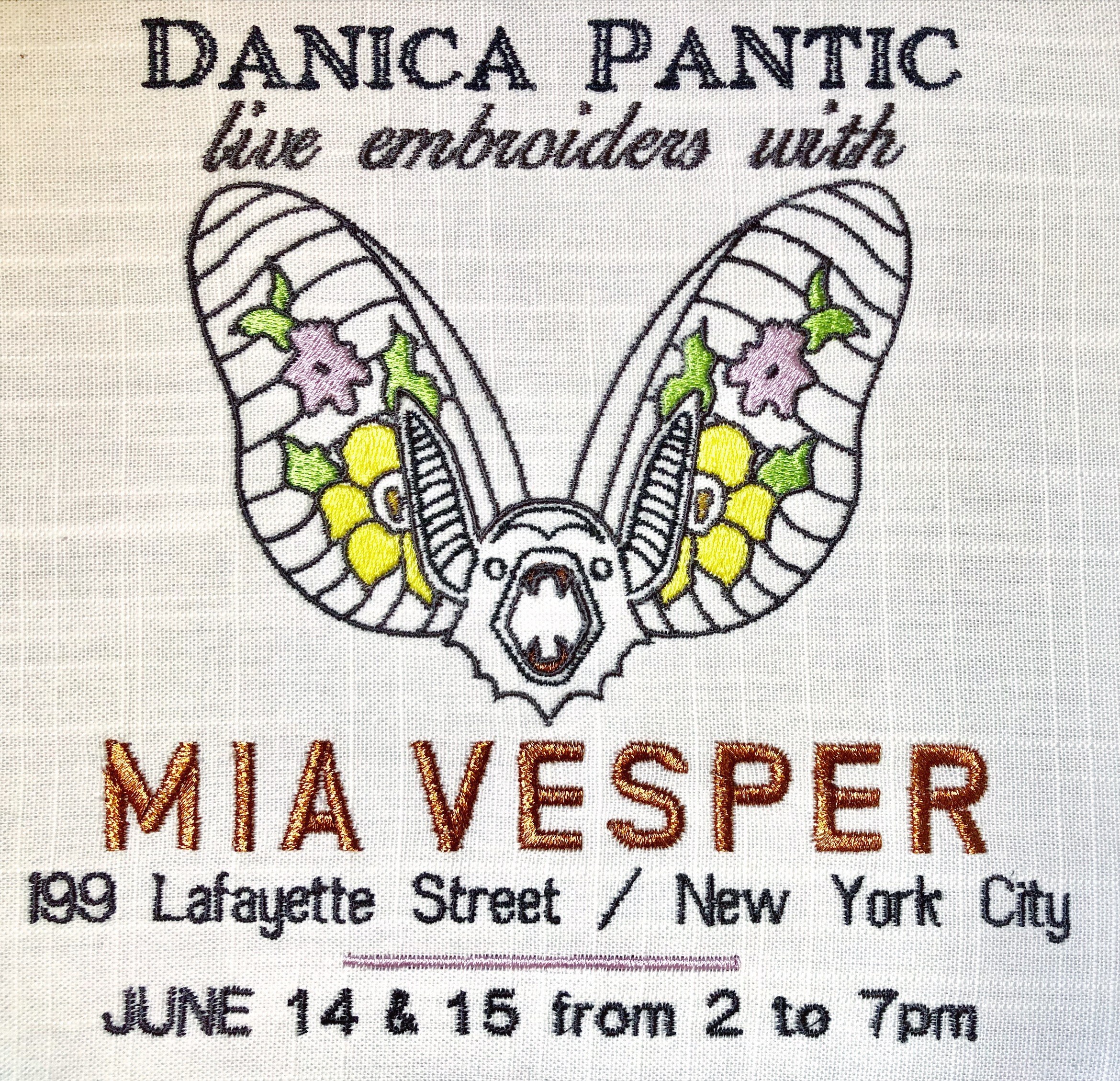 Embroidered flyer for my first weekend up-cycling clothes at  Mia Vesper' s store in New York City.