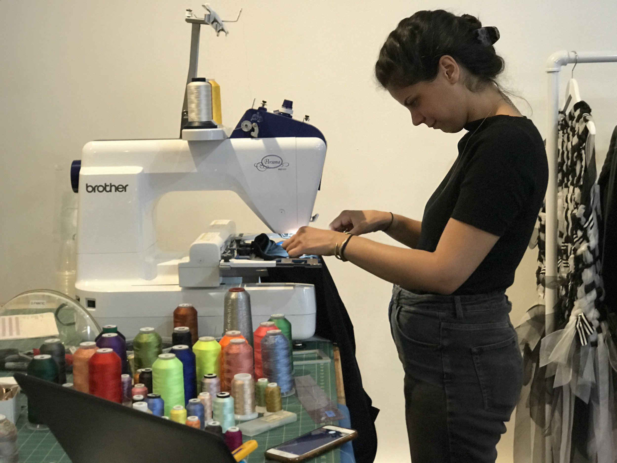 Working the embroidery station at  Mia Vesper' s store in New York City.