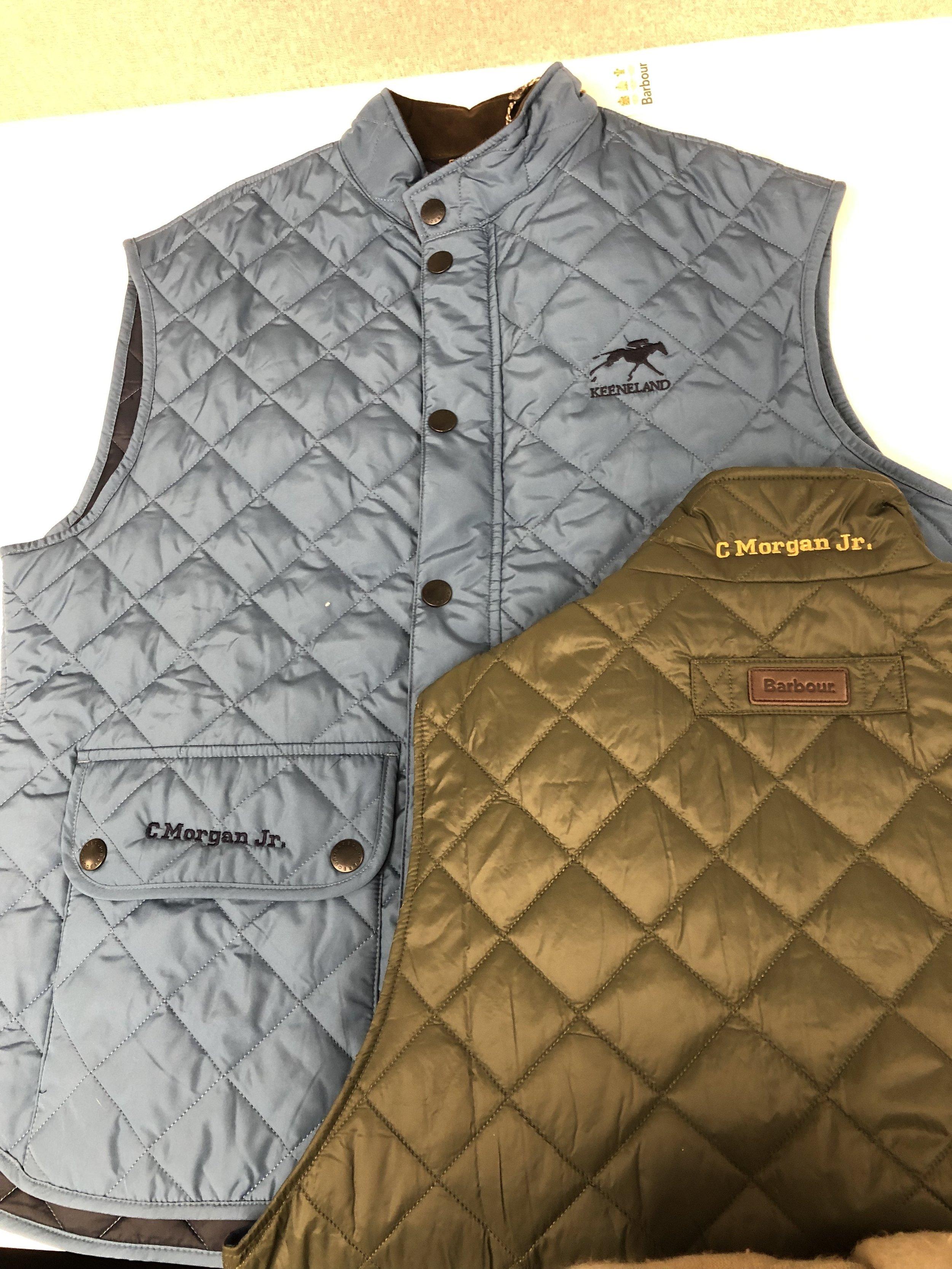 Monogrammed vests for Barbour's Keeneland launch.
