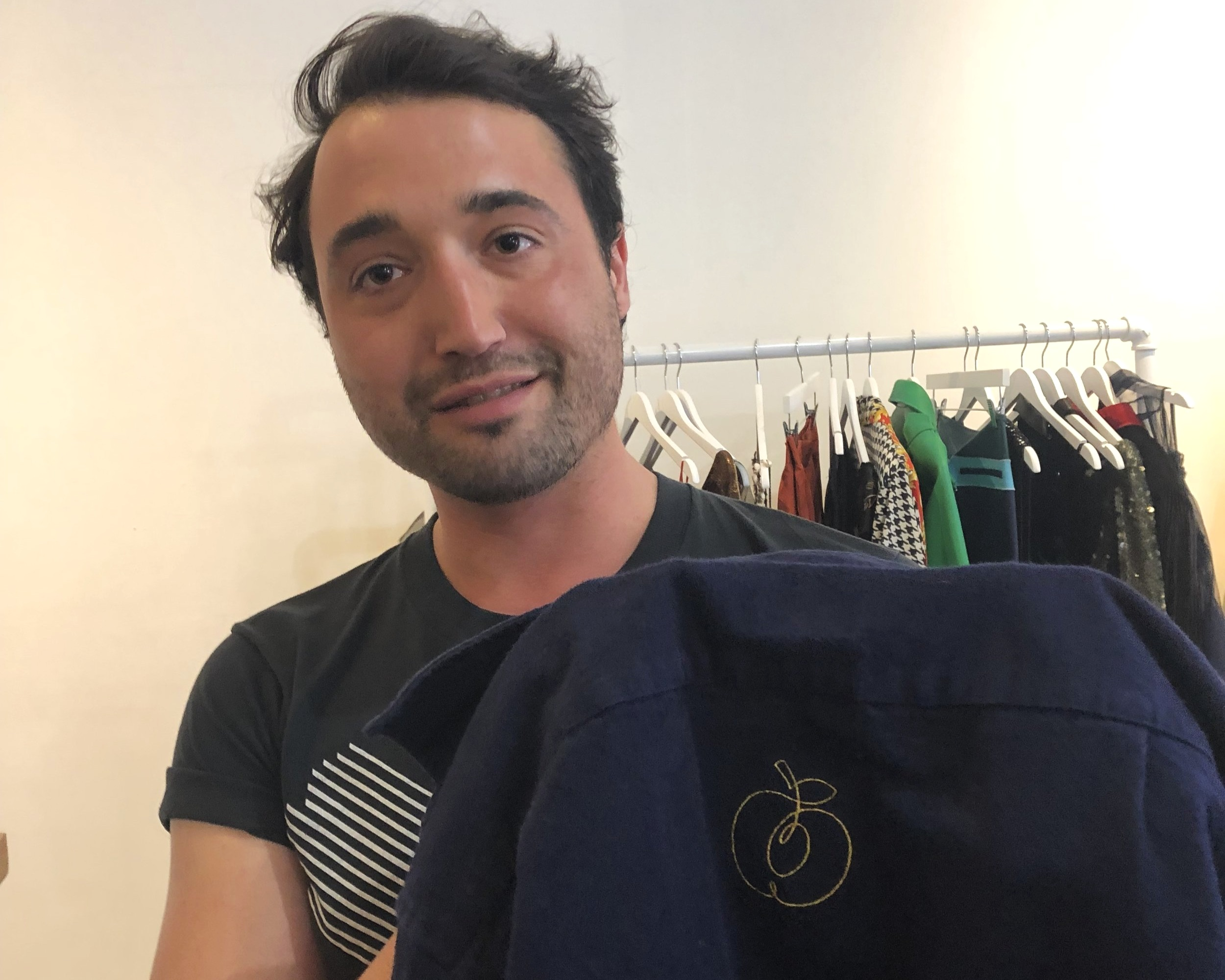 Pre-made design on a jacket, embroidered at  Mia Vesper' s store in New York City.