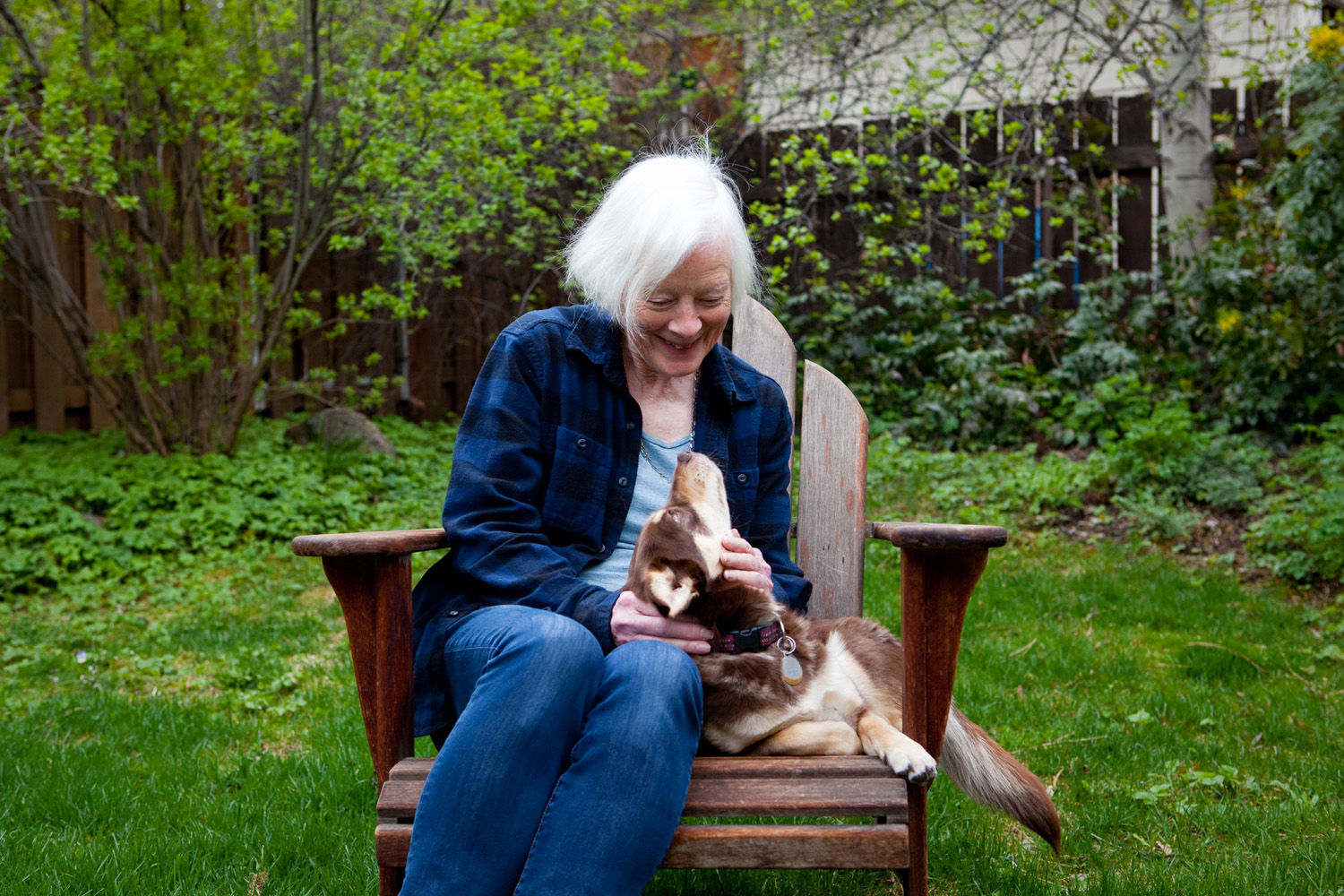 Betsy Warriner, 77, with her dog, Daisy, at their home
