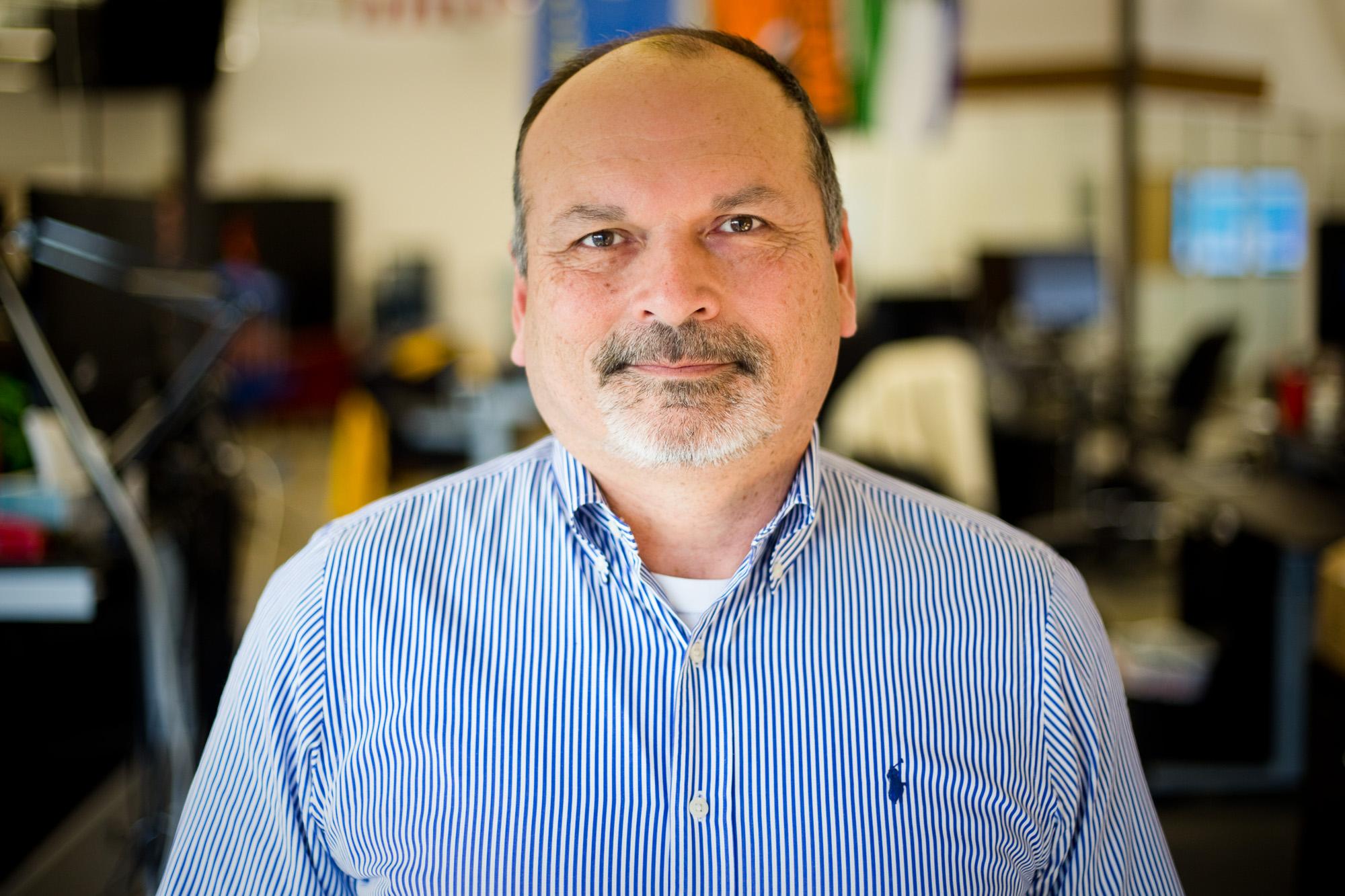 Preston Callicott, 61, at his office at Five Talent