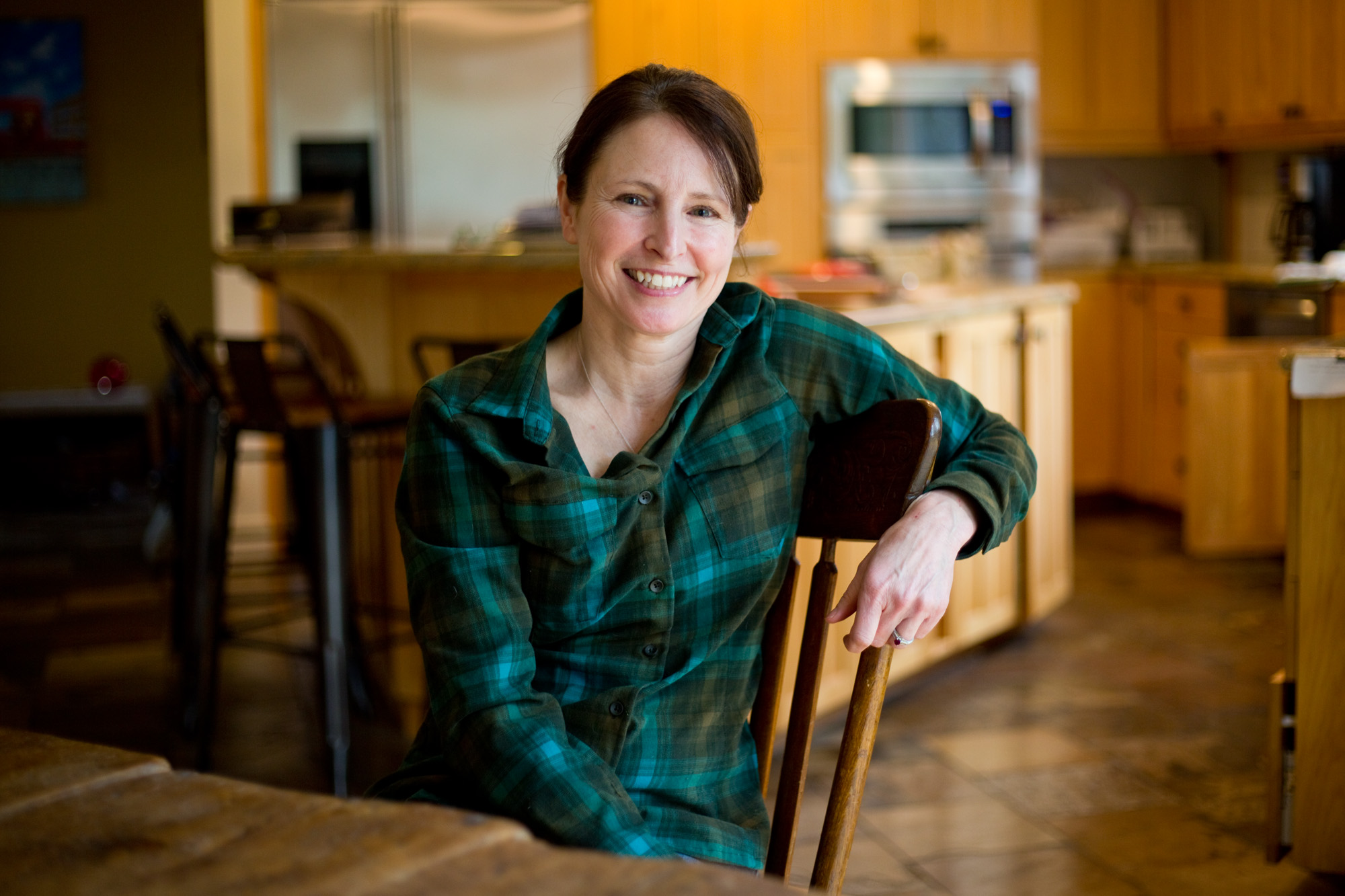Amanda Conde, 51, at her home