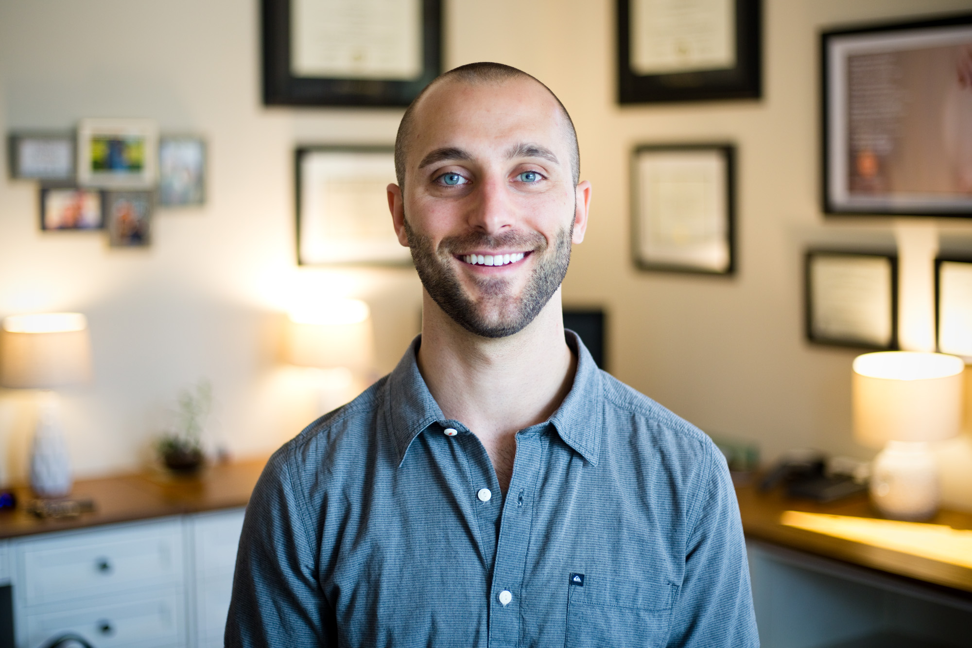 David Lutz, 27, at his office