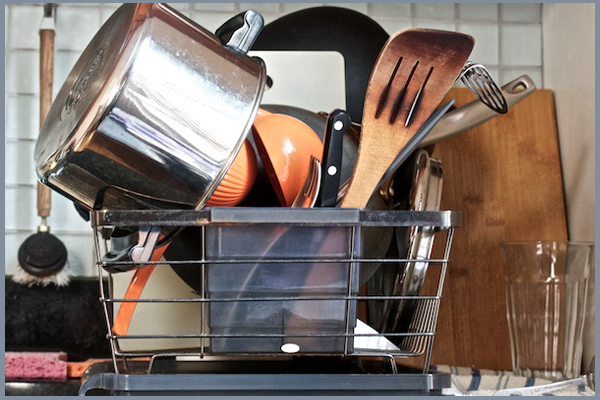 How can we eliminate the pile of dishes and bowls in the dish rack? -