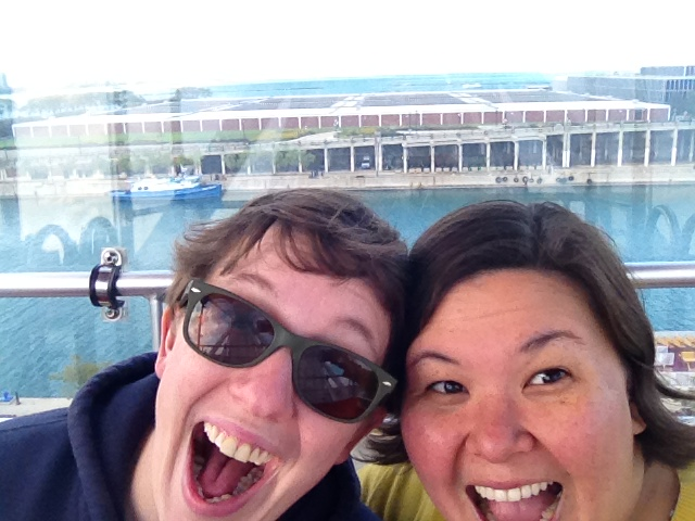 On the Ferris Wheel at Navy Pier on Rachel's 28th birthday.