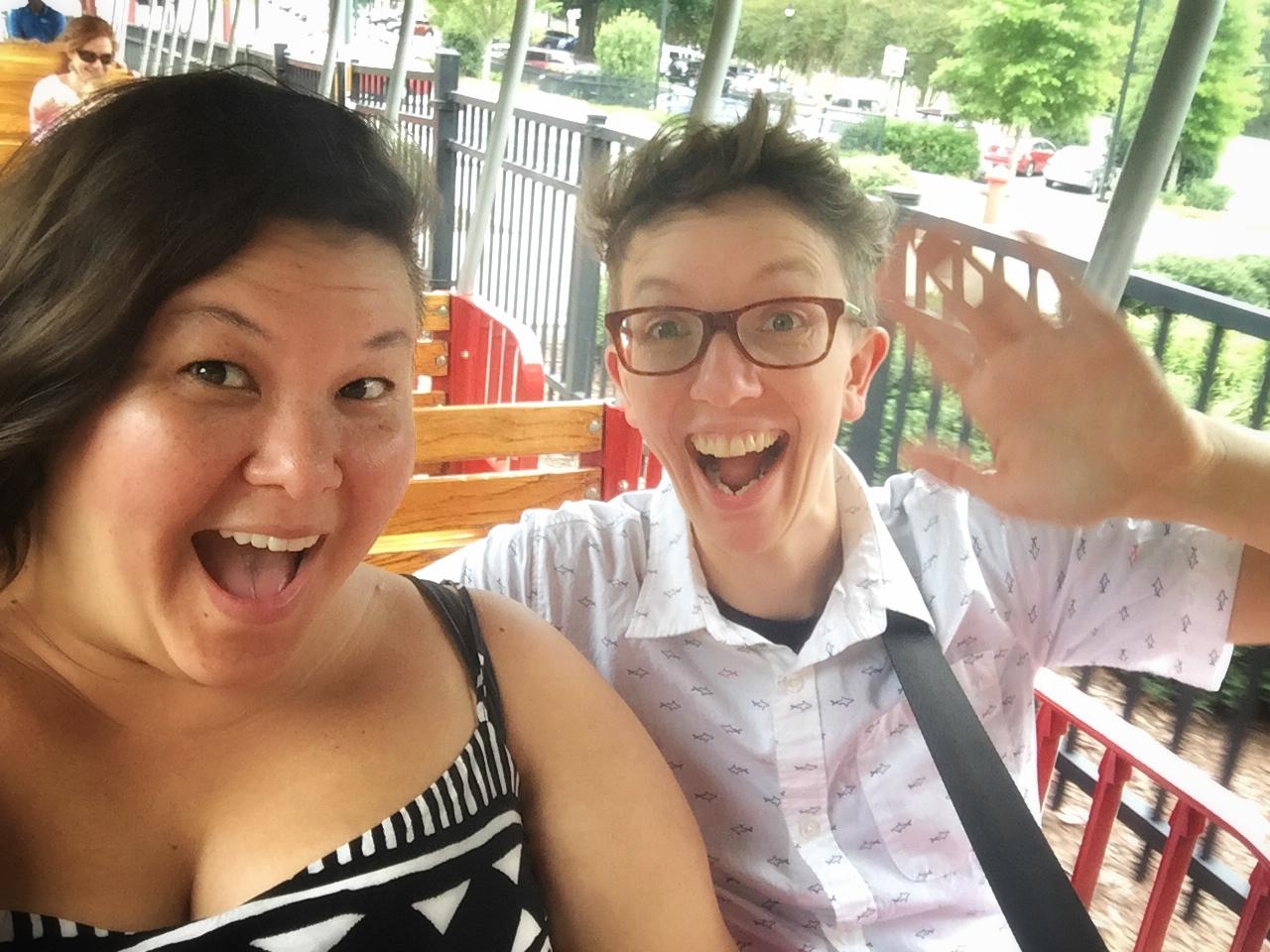 Riding the kiddie train on Rachel's birthday. Pullen Park,September 2017.