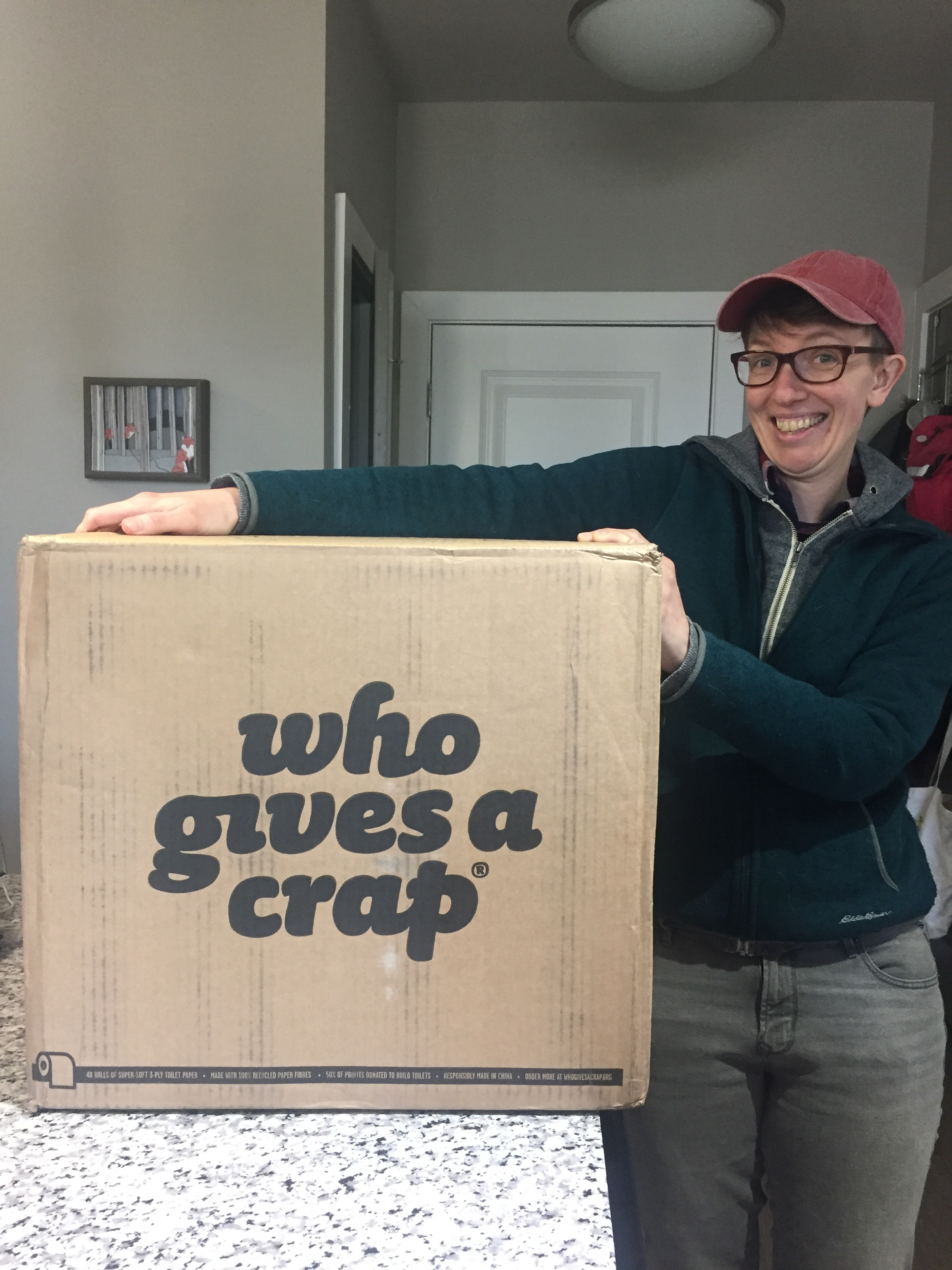 Rachel was stoked about our Who Gives a Crap delivery!