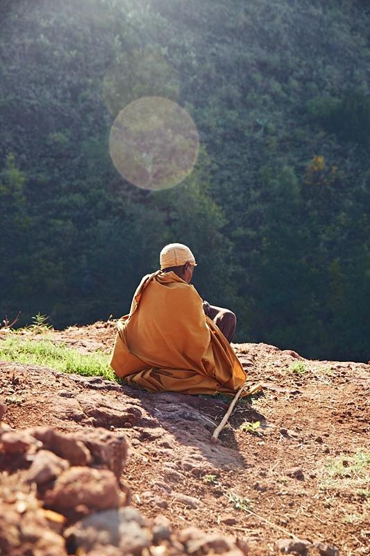 A pilgrim in contemplation  Lalibela,Ethiopia