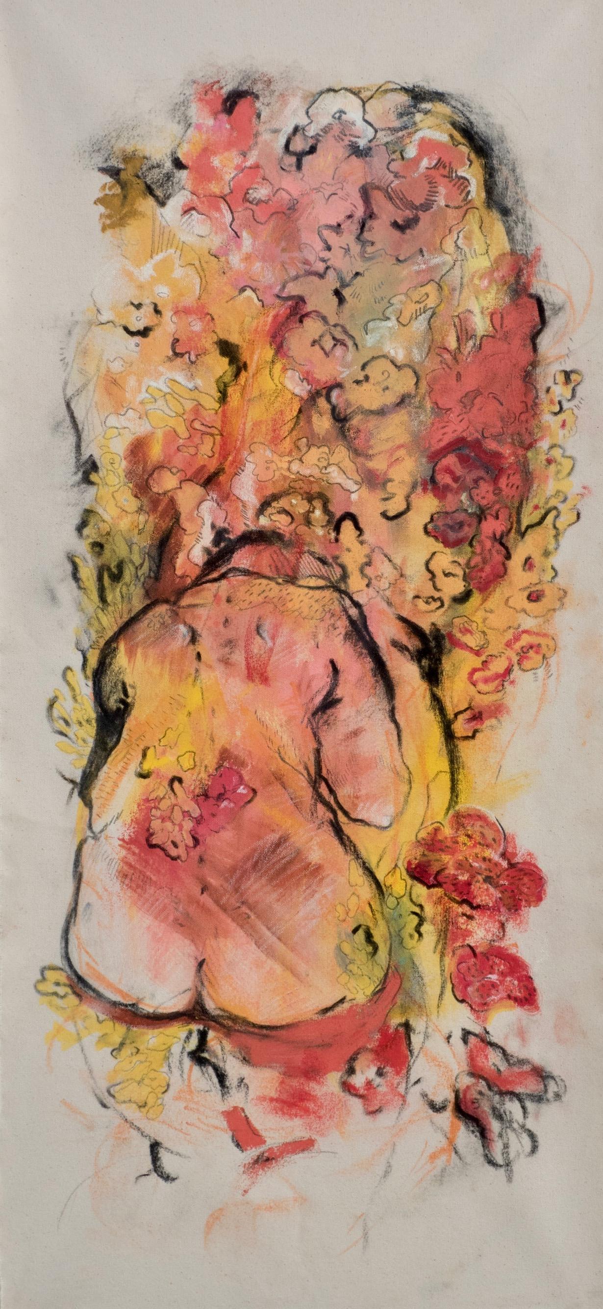"""Sensitive Arrangement  oil paint, pastel, and graphite on unstretched canvas. 16"""" x 35"""""""