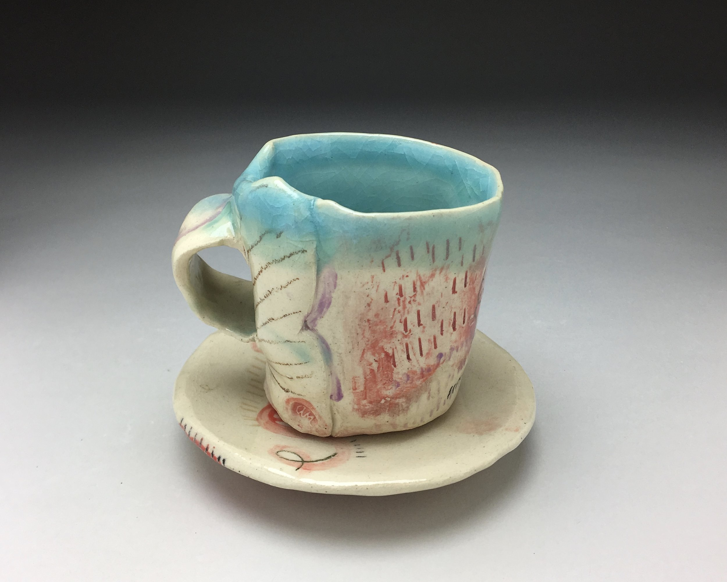 Cup and Saucer , stoneware, cone 5