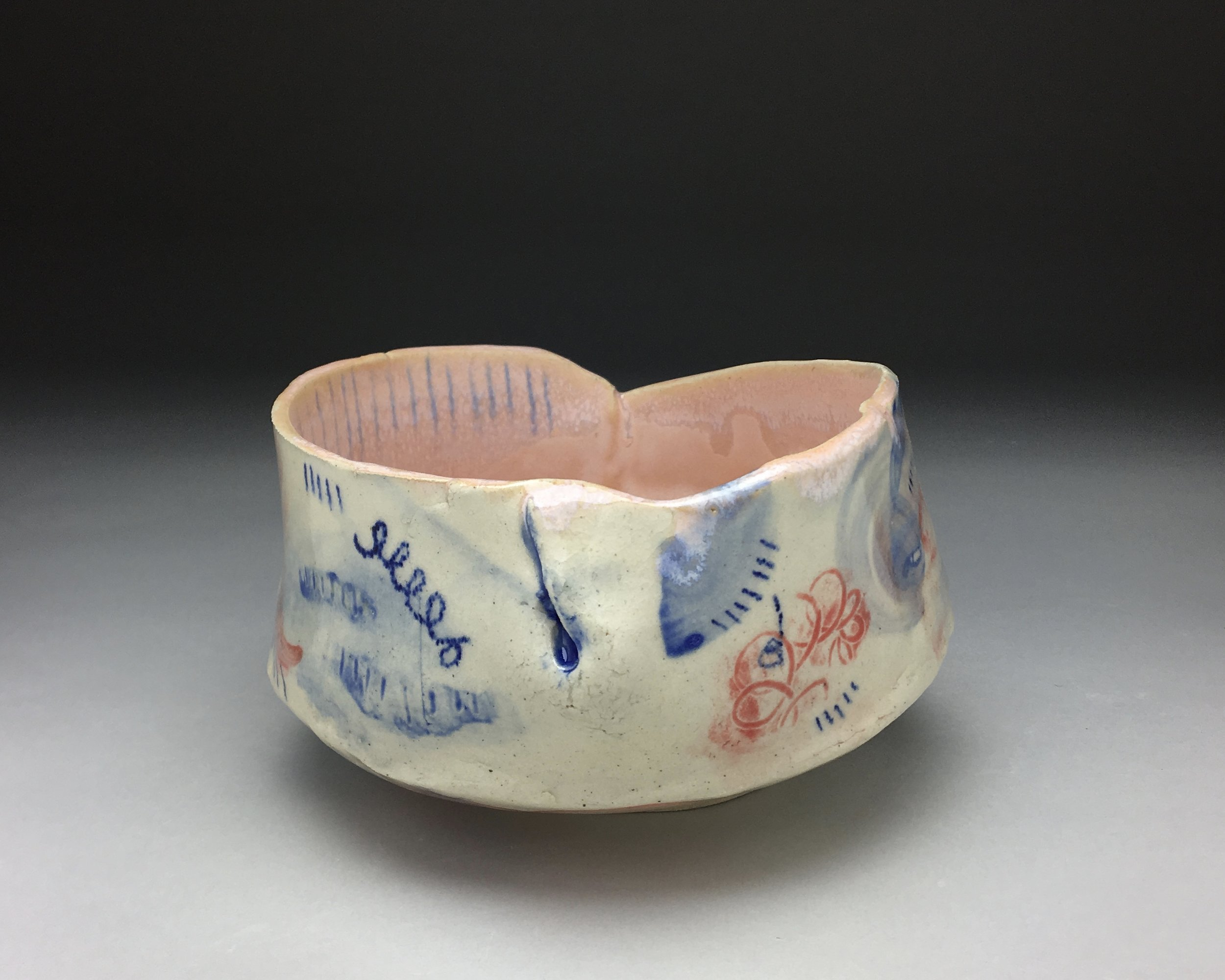 Red-Blue Bowl,  stoneware, cone 5