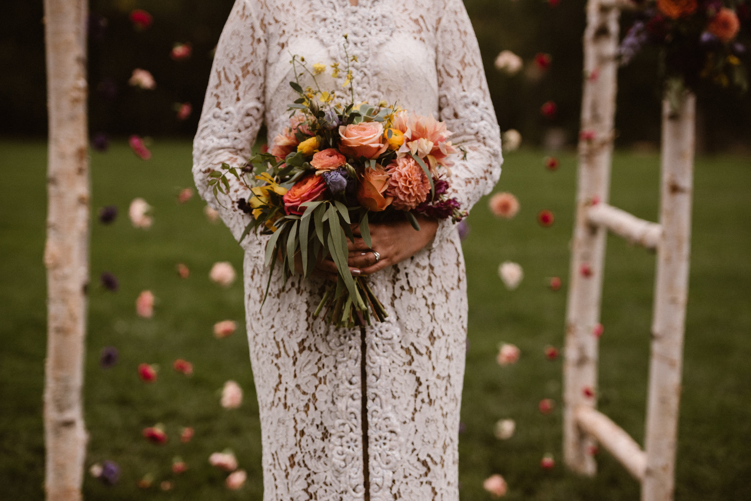 Bride and Ceremony Arch with Bridal Bouquet