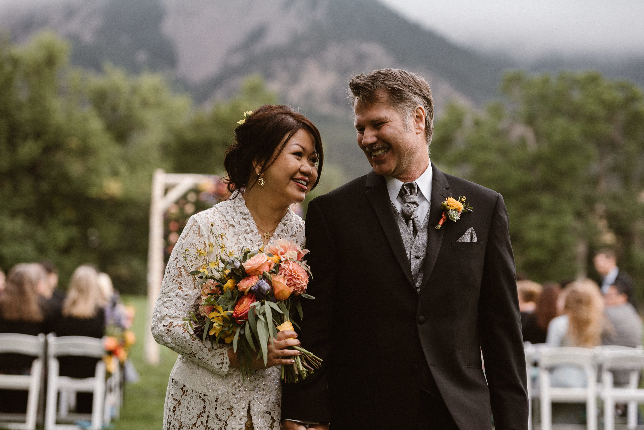 Bride and Groom at Outdoor Ceremony in Chautauqua Park, Boulder, Colorado