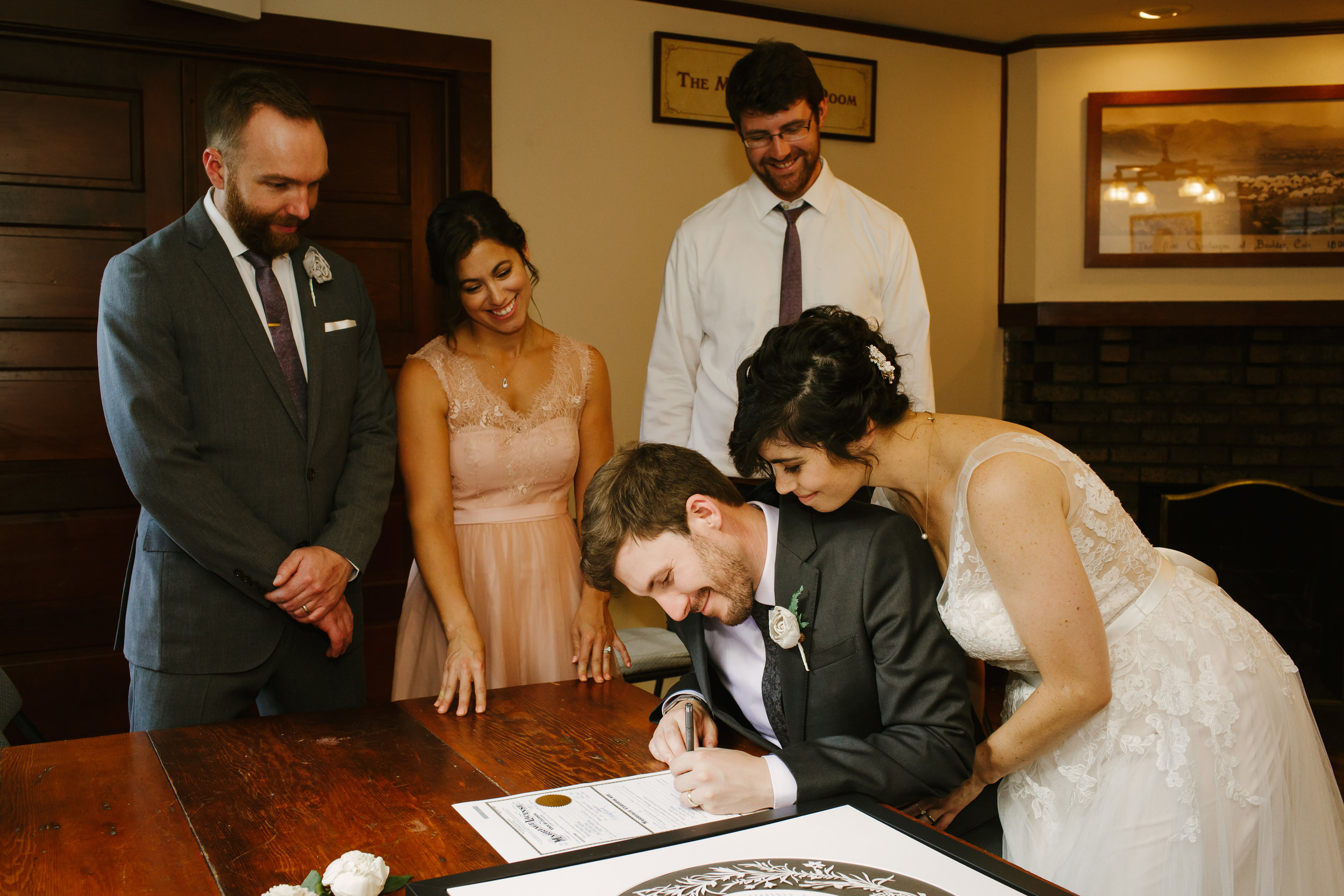 Signing Marriage License at Chautauqua Grand Assembly Hall