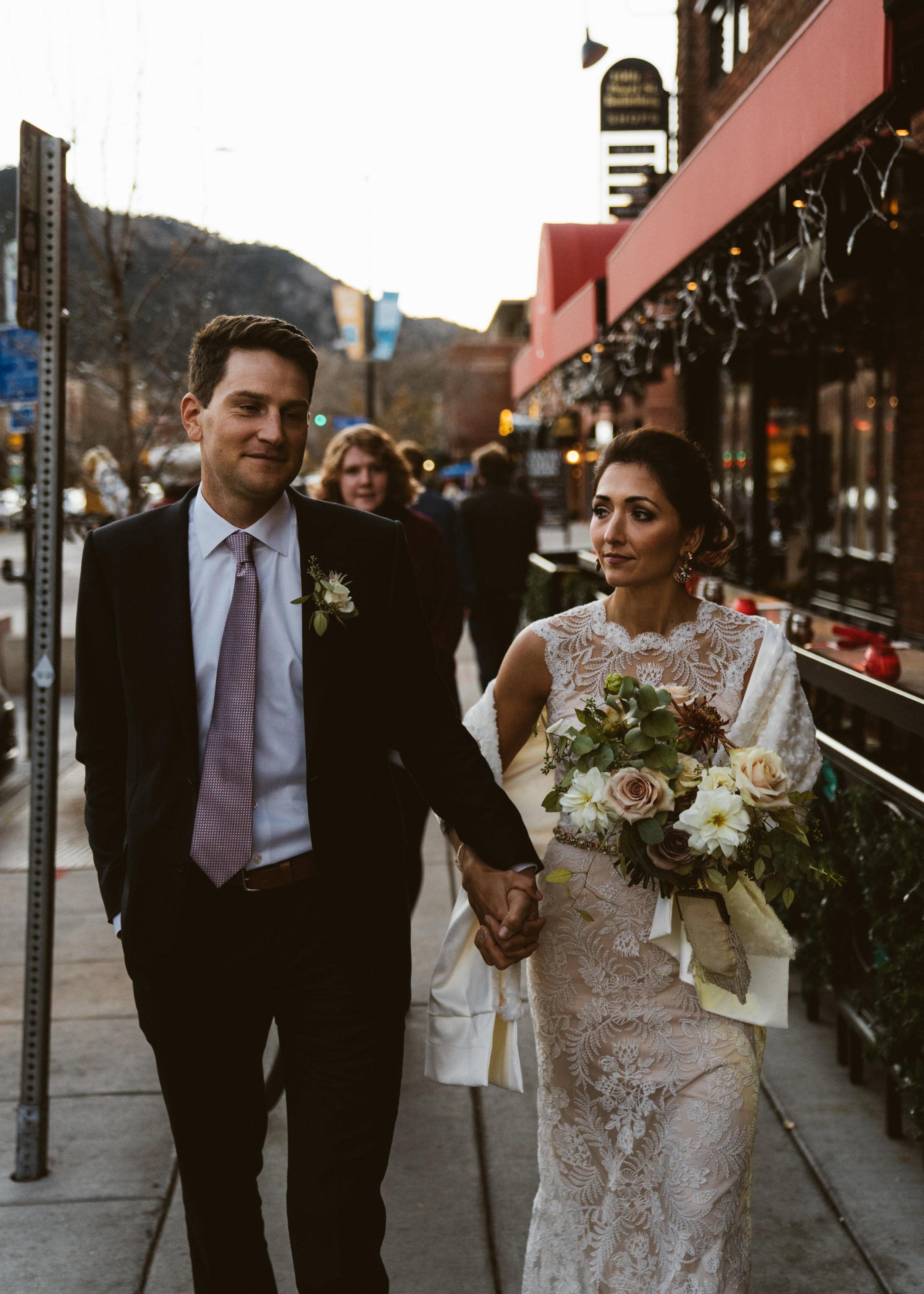 Bride and Groom on Pearl Street, Boulder, Colorado